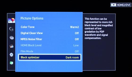 The Black Optimizer option should be turned on for richer black levels.