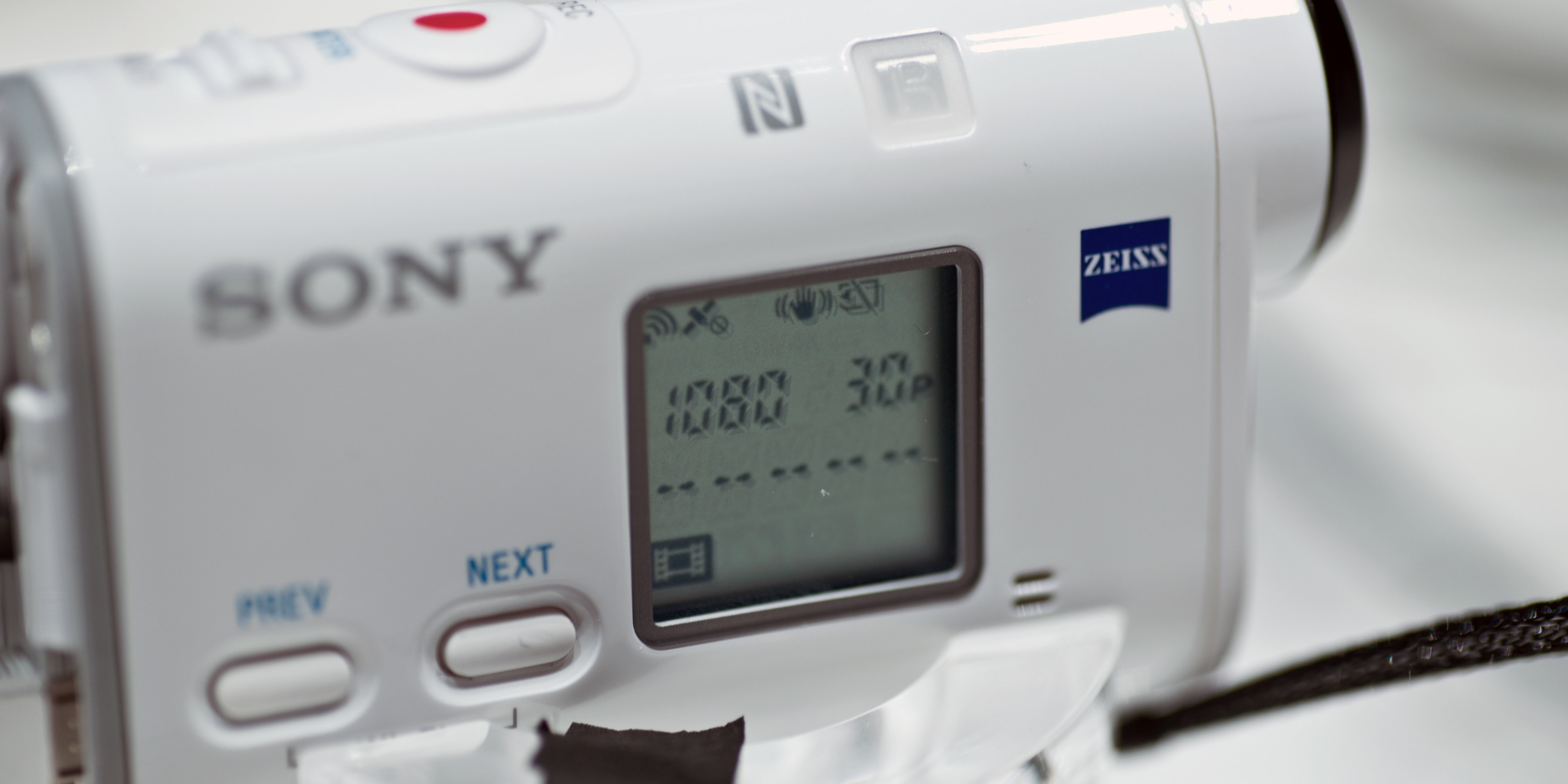 A photograph of the Sony Action Cam FDR-X1000V's screen.