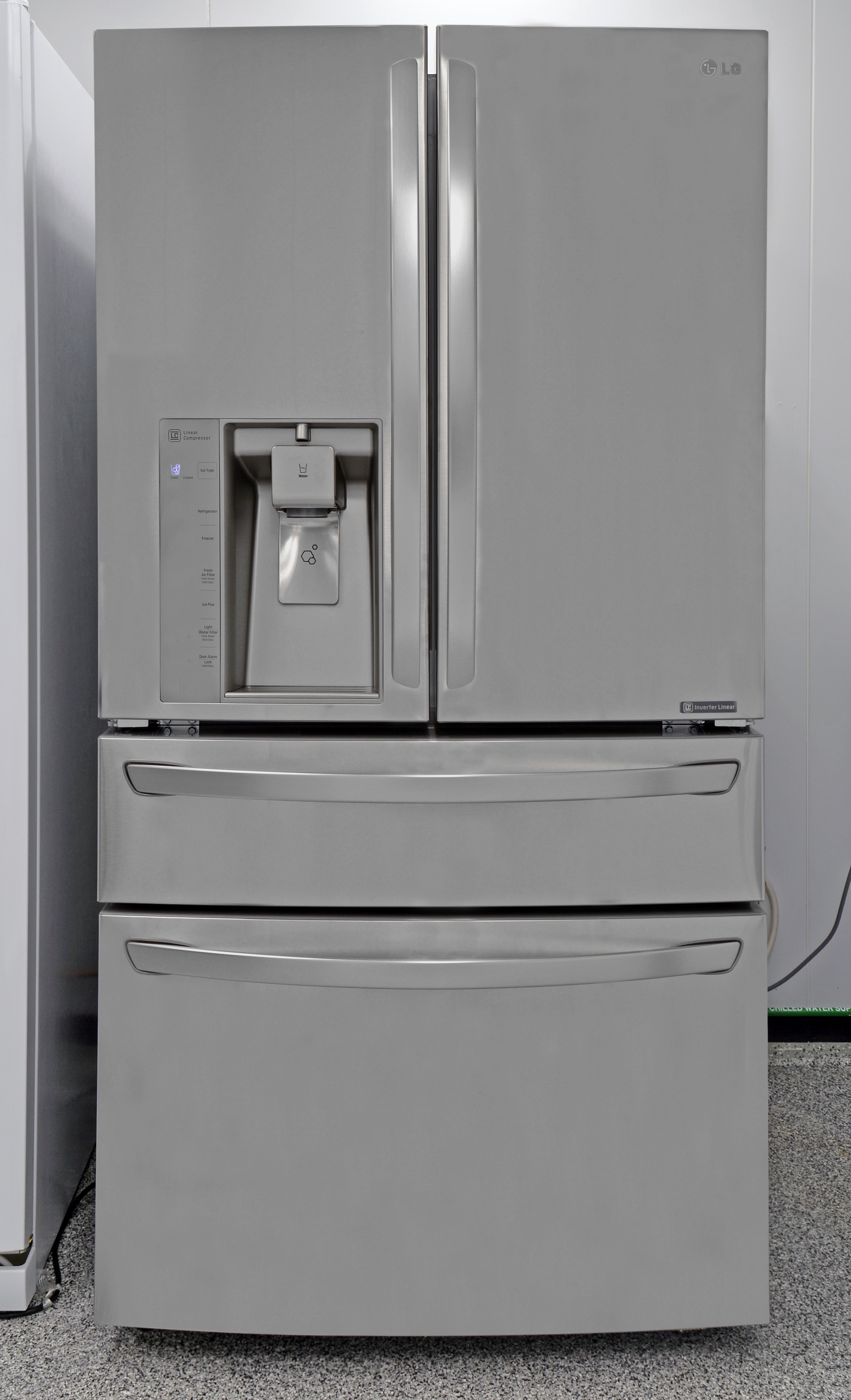 The massive LG LMXS30786S four door fridge is an impressive sight.