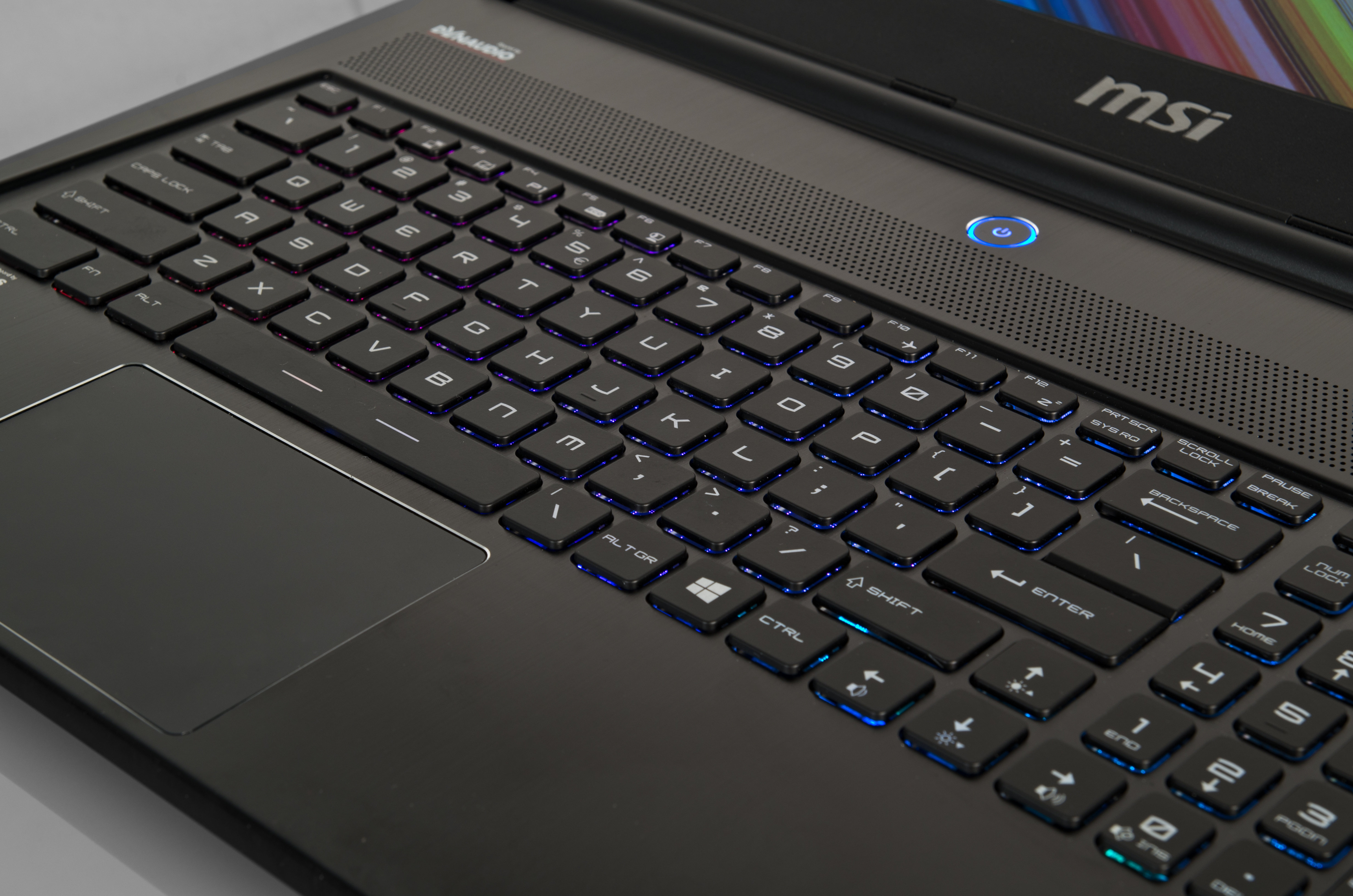 A picture of the MSI GS60 Ghost's keyboard.