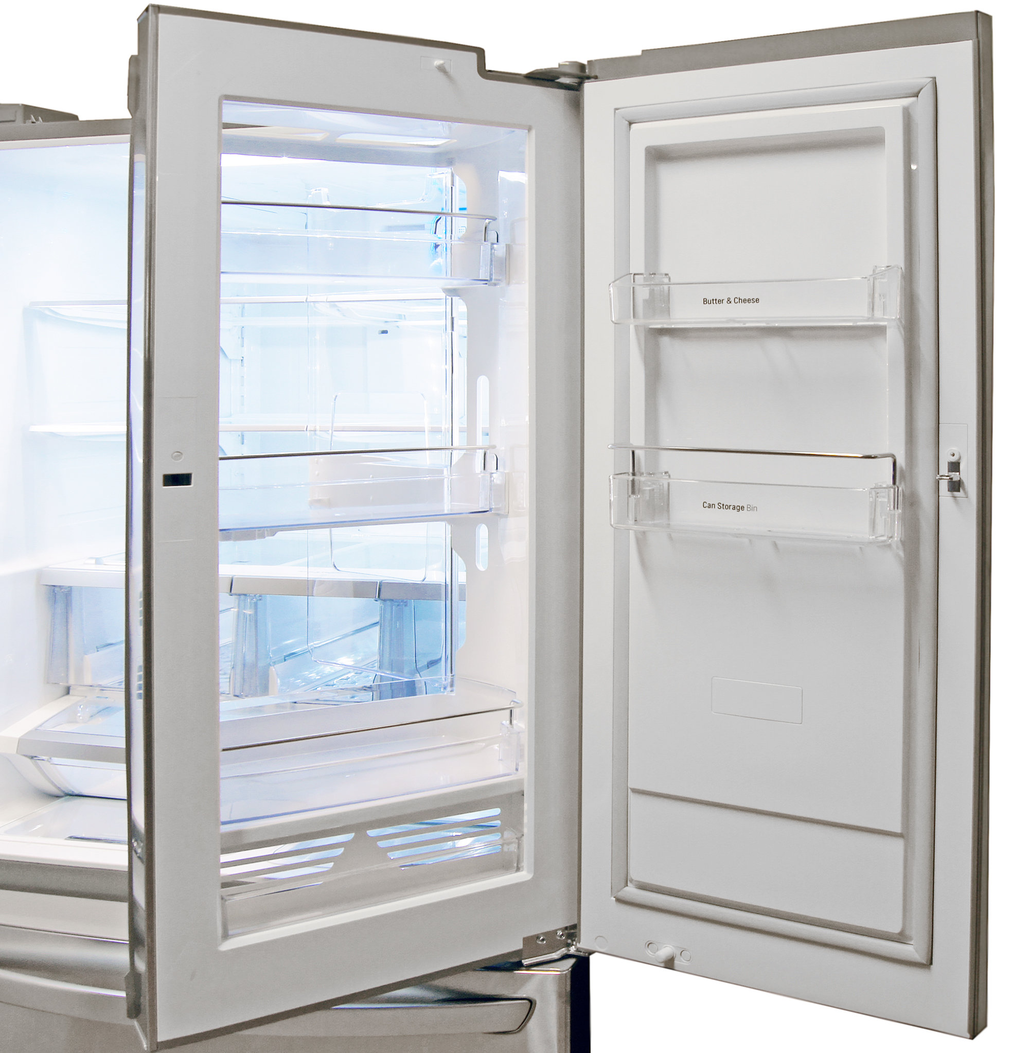 Opening the LG LFX32945ST's outer door gives you access to all six of the door-in-door's shelves.