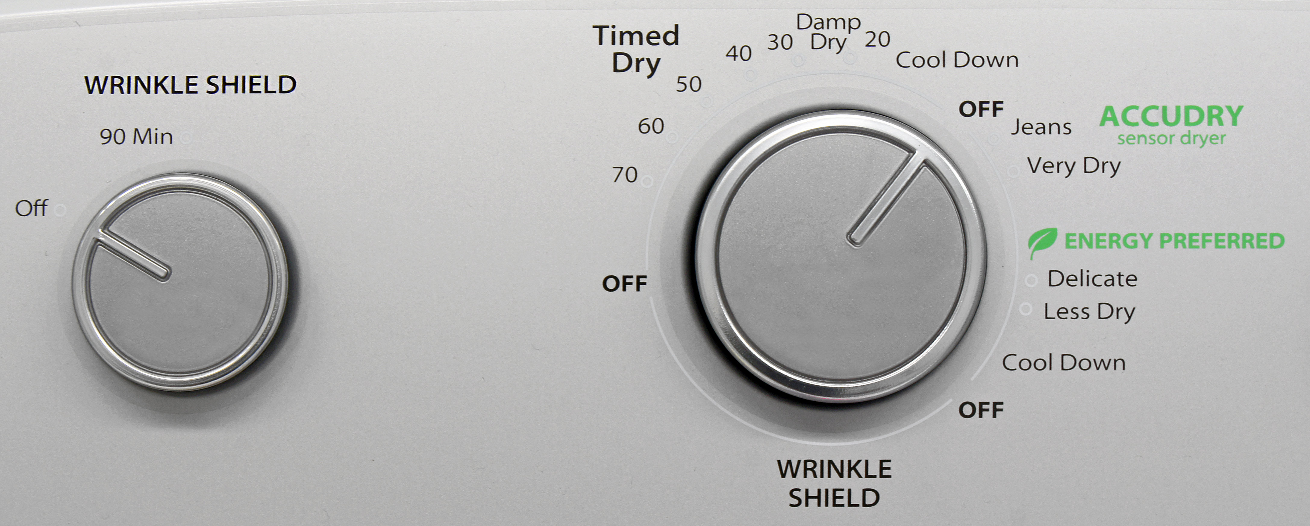 Even though it has a crank-style timer, the Whirlpool WED5000DW does actually incorporate sensor-based cycles.