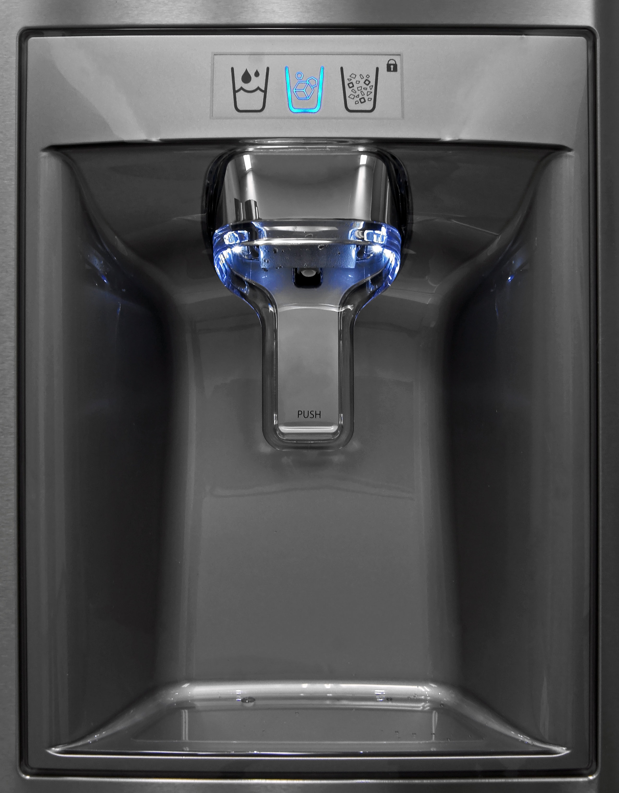 The tall dispenser's minimalist aesthetic lines up nicely with the stainless exterior of the Kenmore Elite 74033.