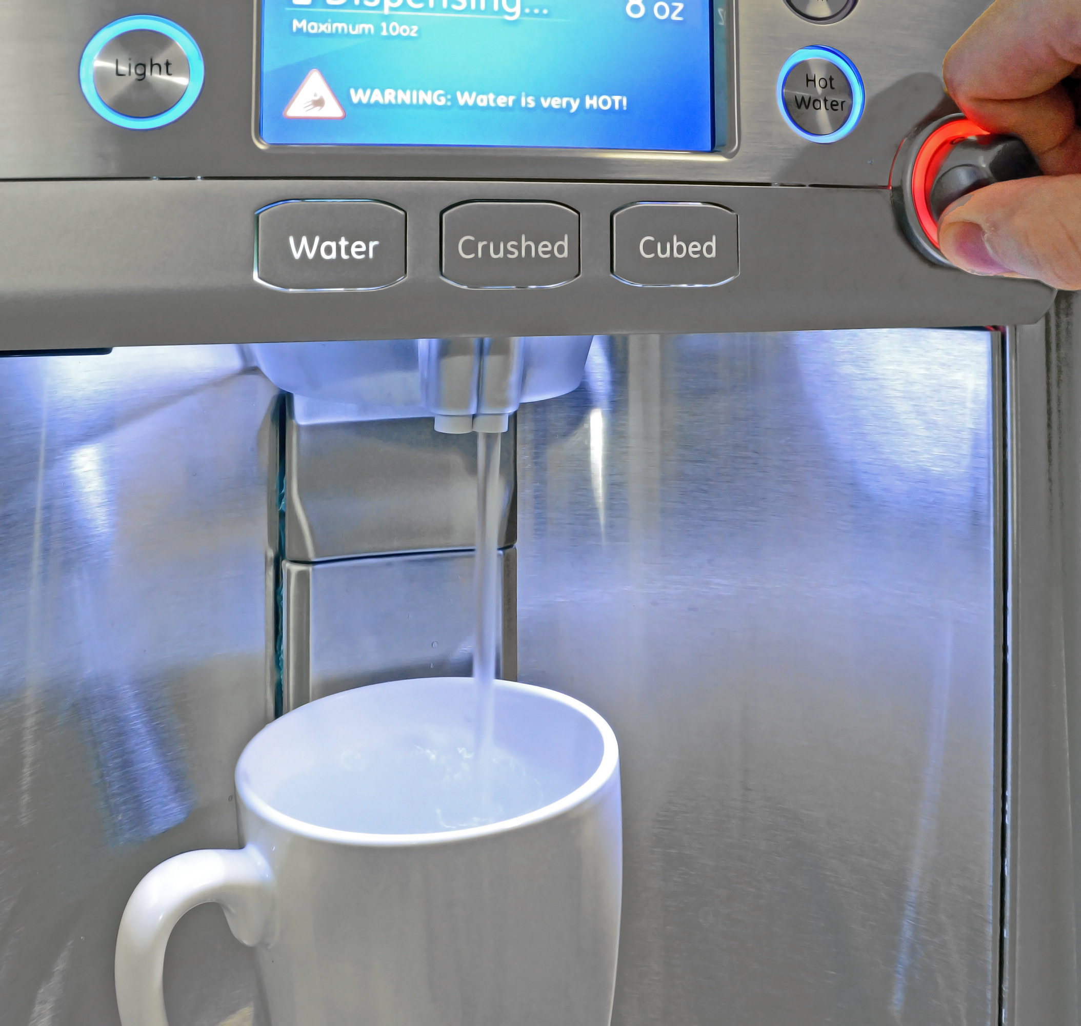 The GE Cafe CFE28TSHSS's dispenser can heat water anywhere from 90°F to 185°F at the push of a button.