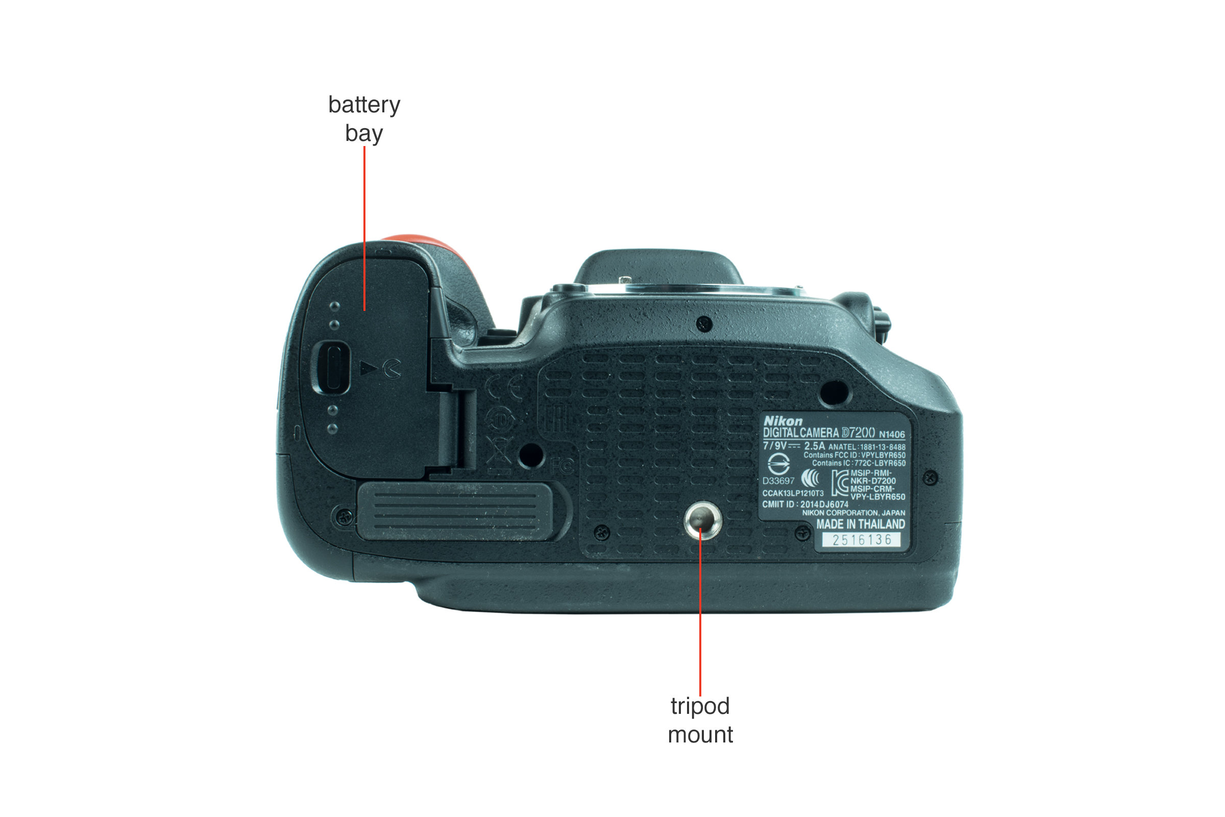 Bottom view of the Nikon D7200.