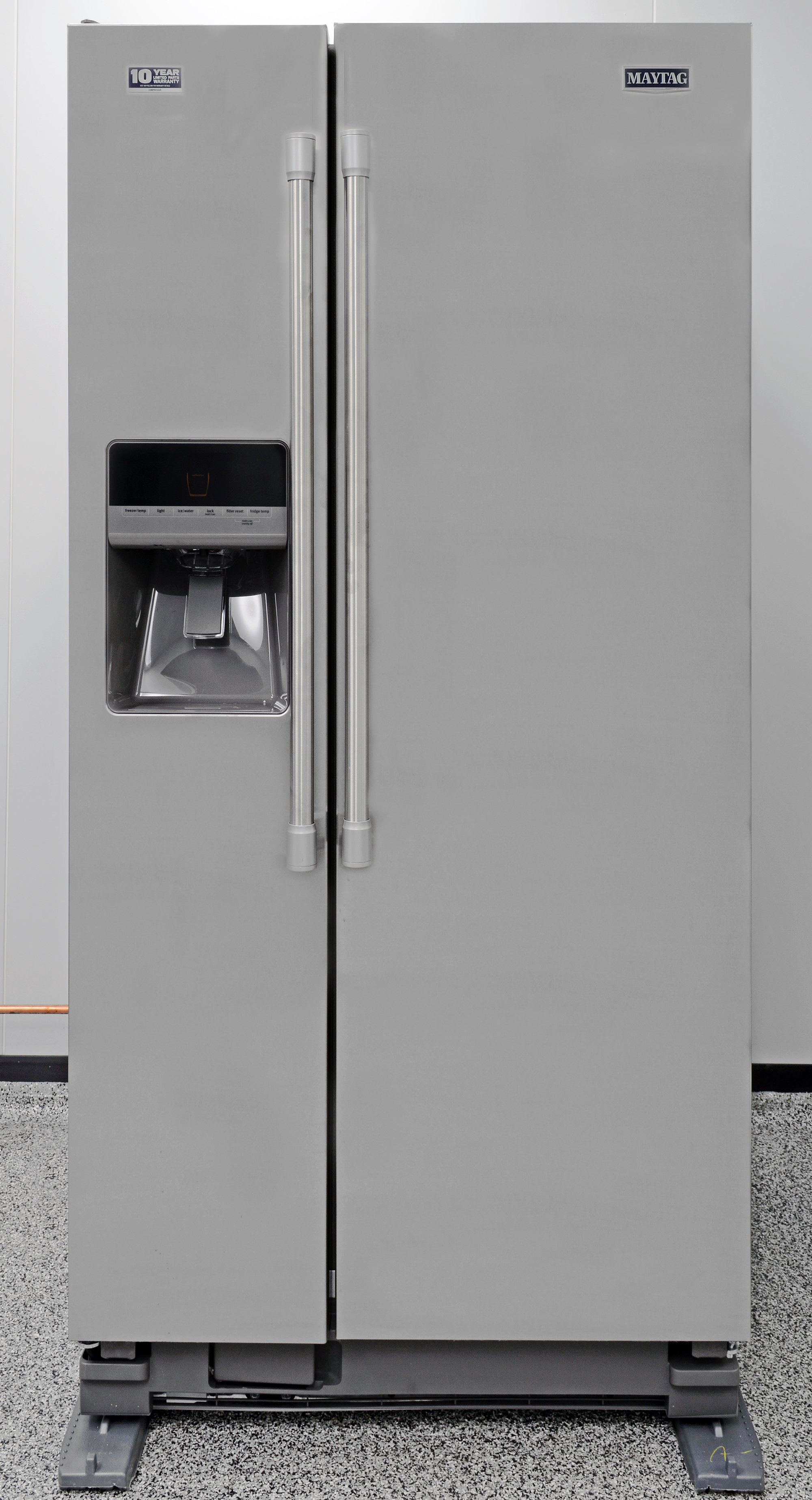 The Maytag MSF21D4MDM side-by-side is the same height as a 21-cubic-foot top freezer.