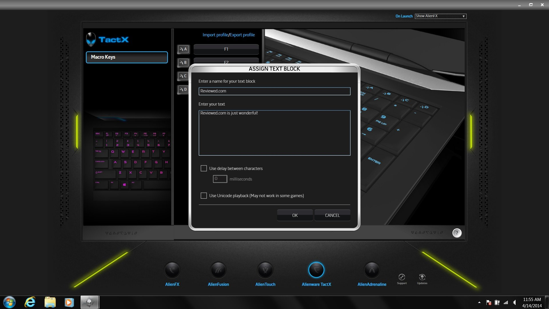 Alienware TactX is where you customize the Alienware 17's four programmable keys.