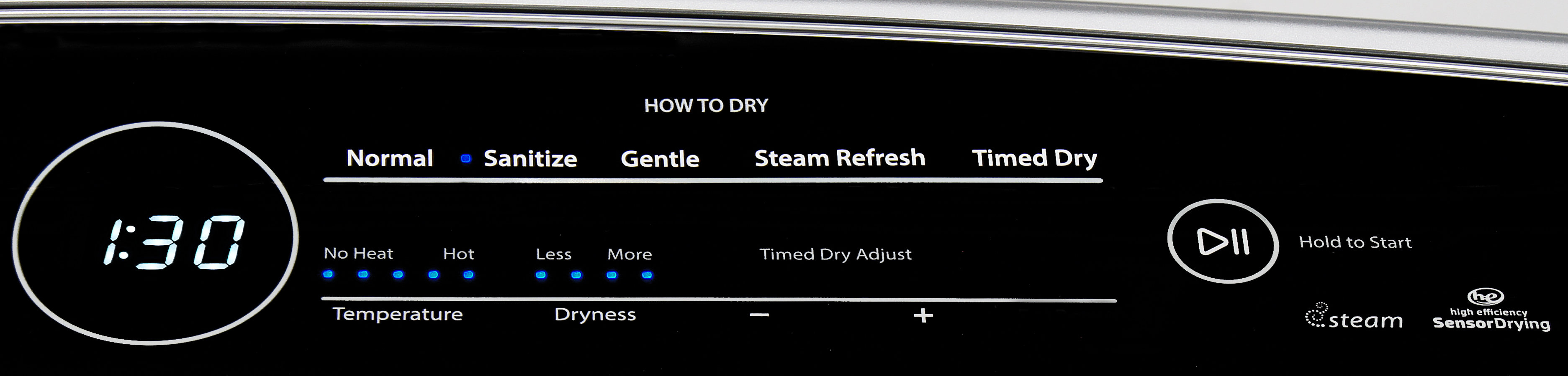 "The ""How To Dry"" section of the Whirlpool Cabrio WED7300DW's controls tries to help you intuit what heat level you should be using to dry your clothes."