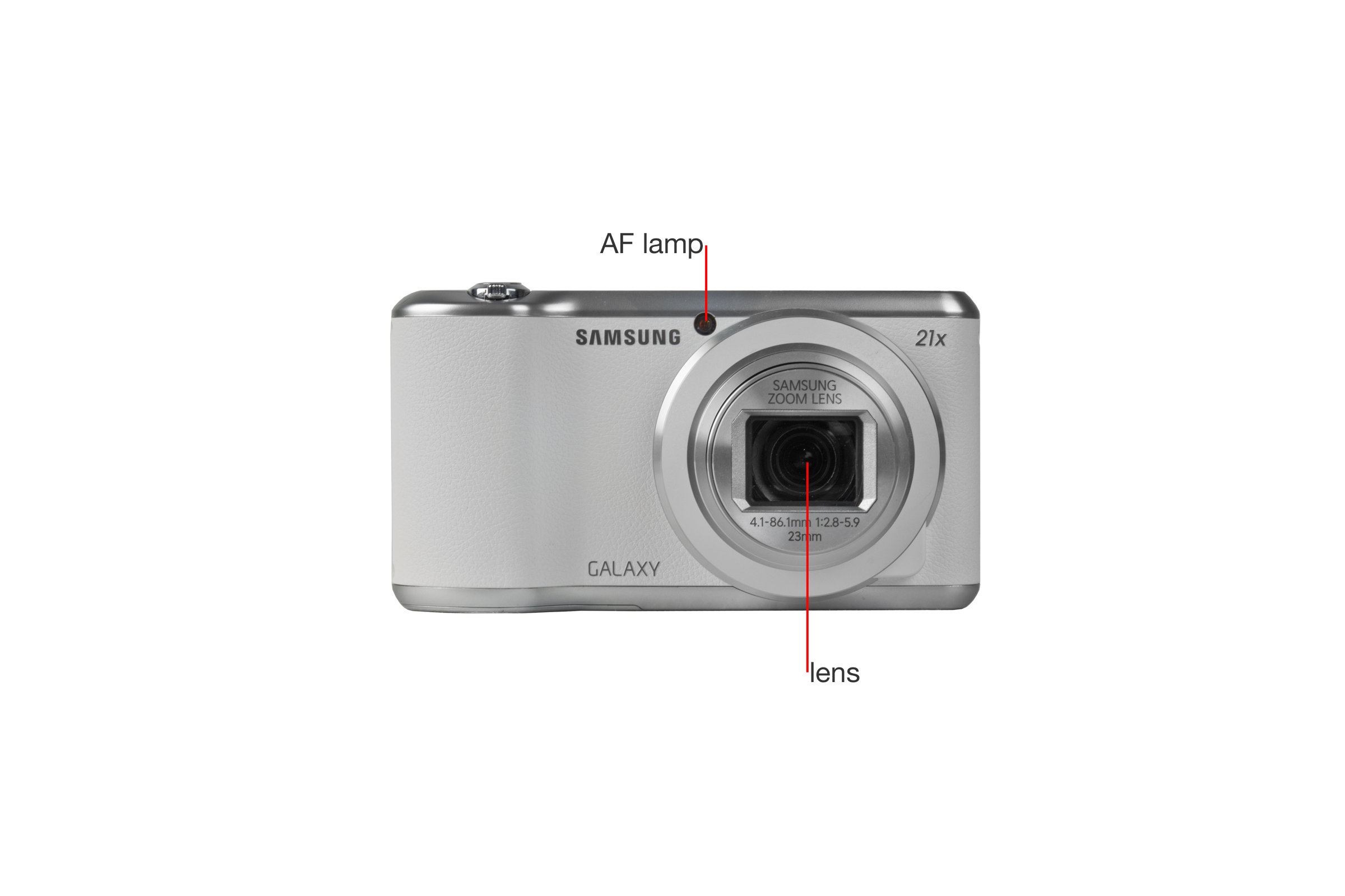 A closer look at the Samsung Galaxy Camera 2's front.