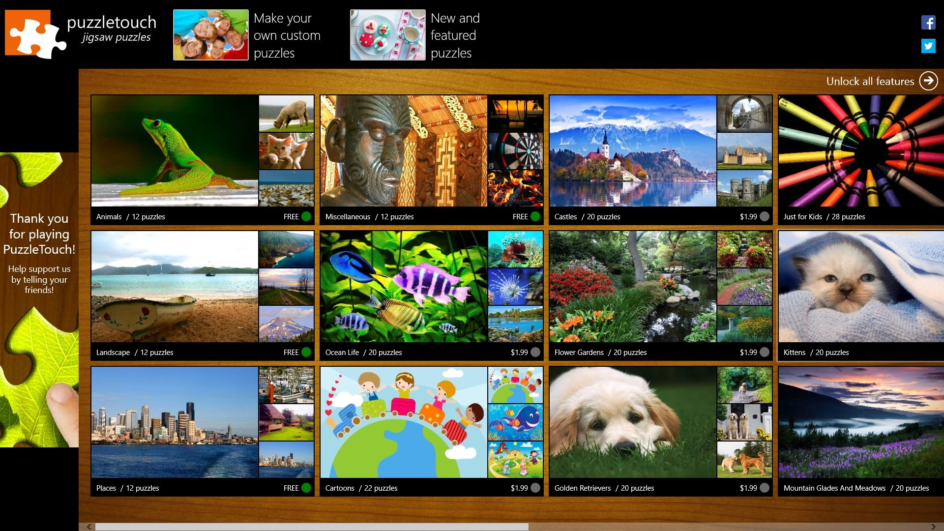 A screenshot of the PuzzleTouch app.