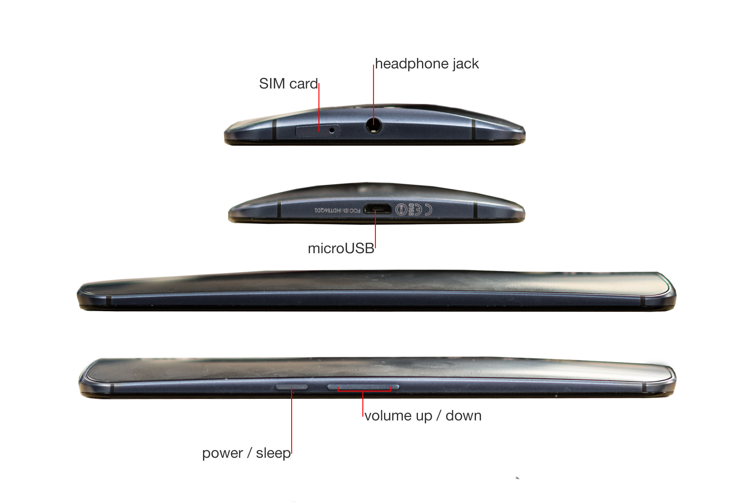 A callout image of the Google Nexus 6's sides.