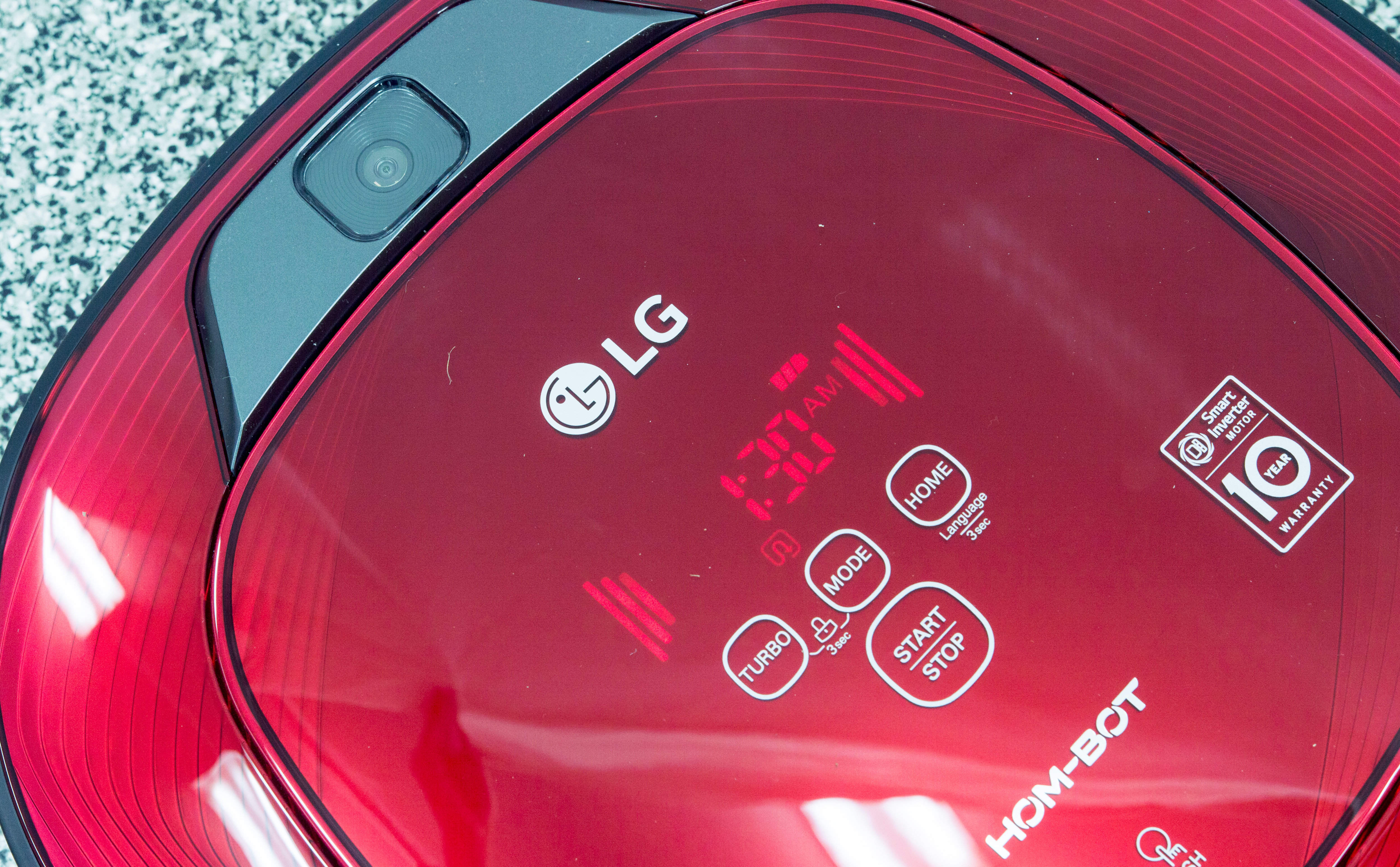 The LG Hom-Bot's controls are easy to read while not clashing with the design.