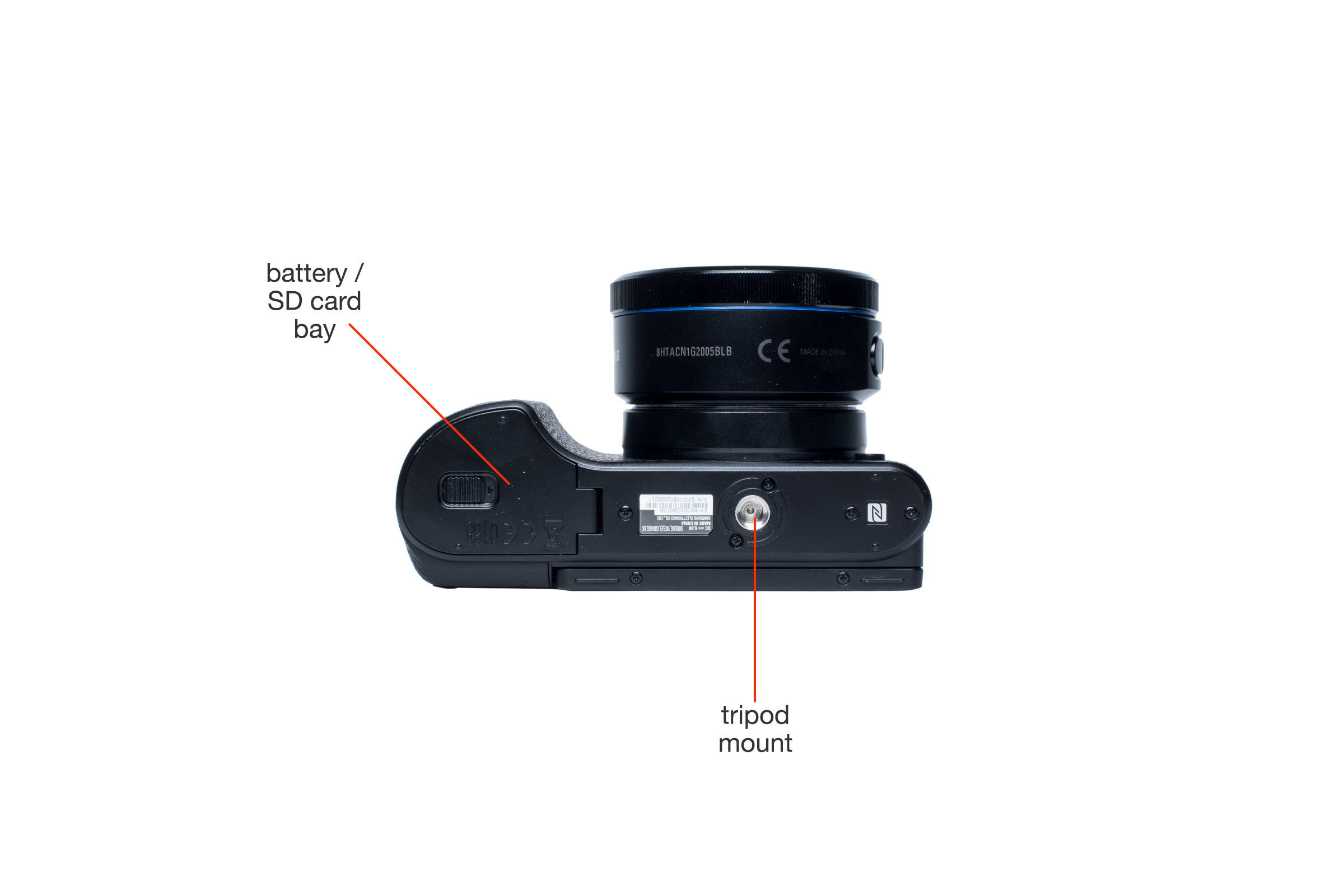 Bottom view of the Samsung NX500.