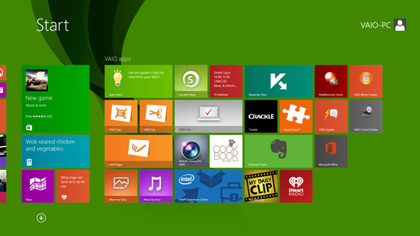 The Start screen on the Sony Vaio Flip 13