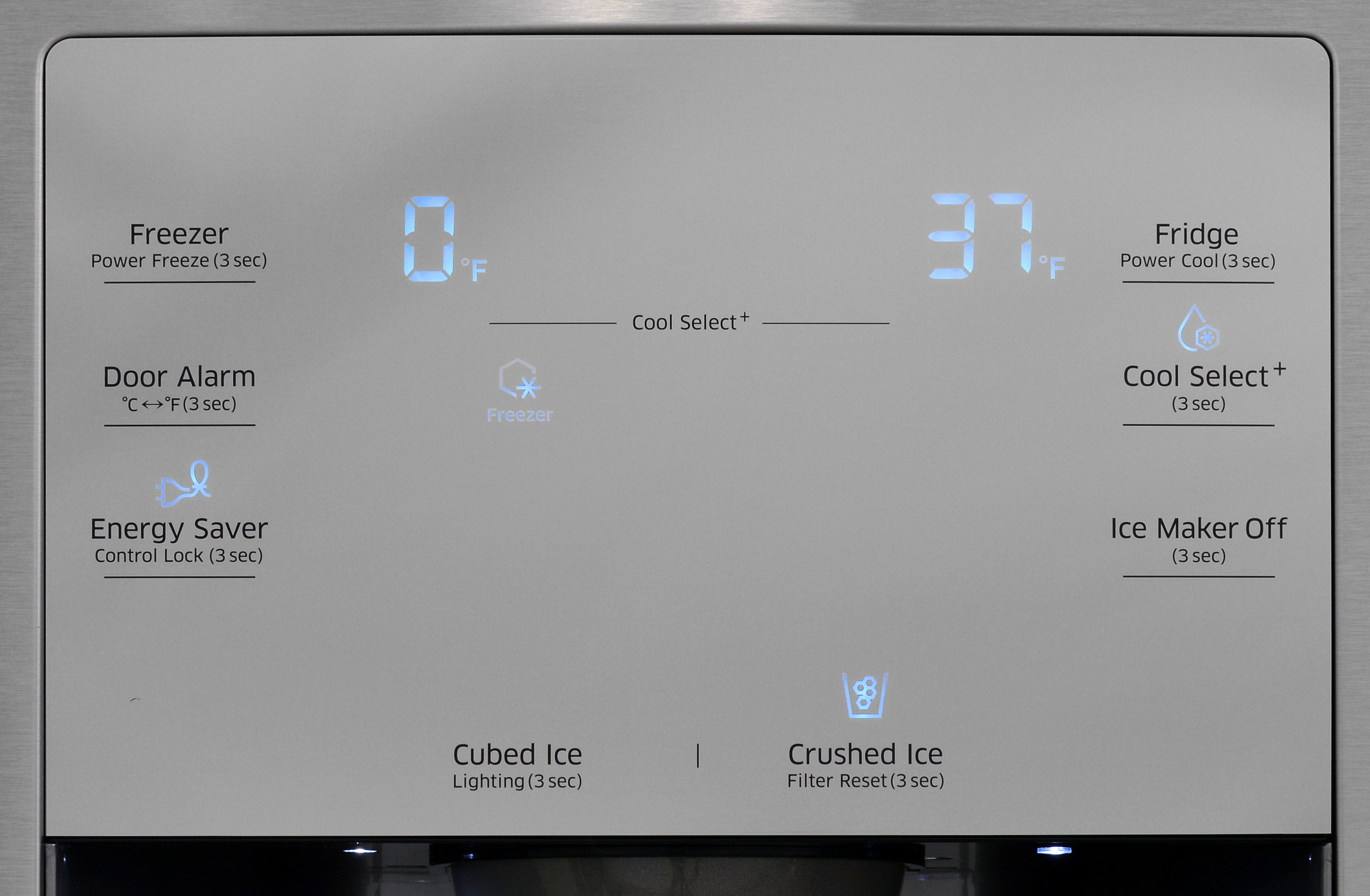 The Samsung RF23J9011SR's responsive control panel blends in well with the stainless finish.