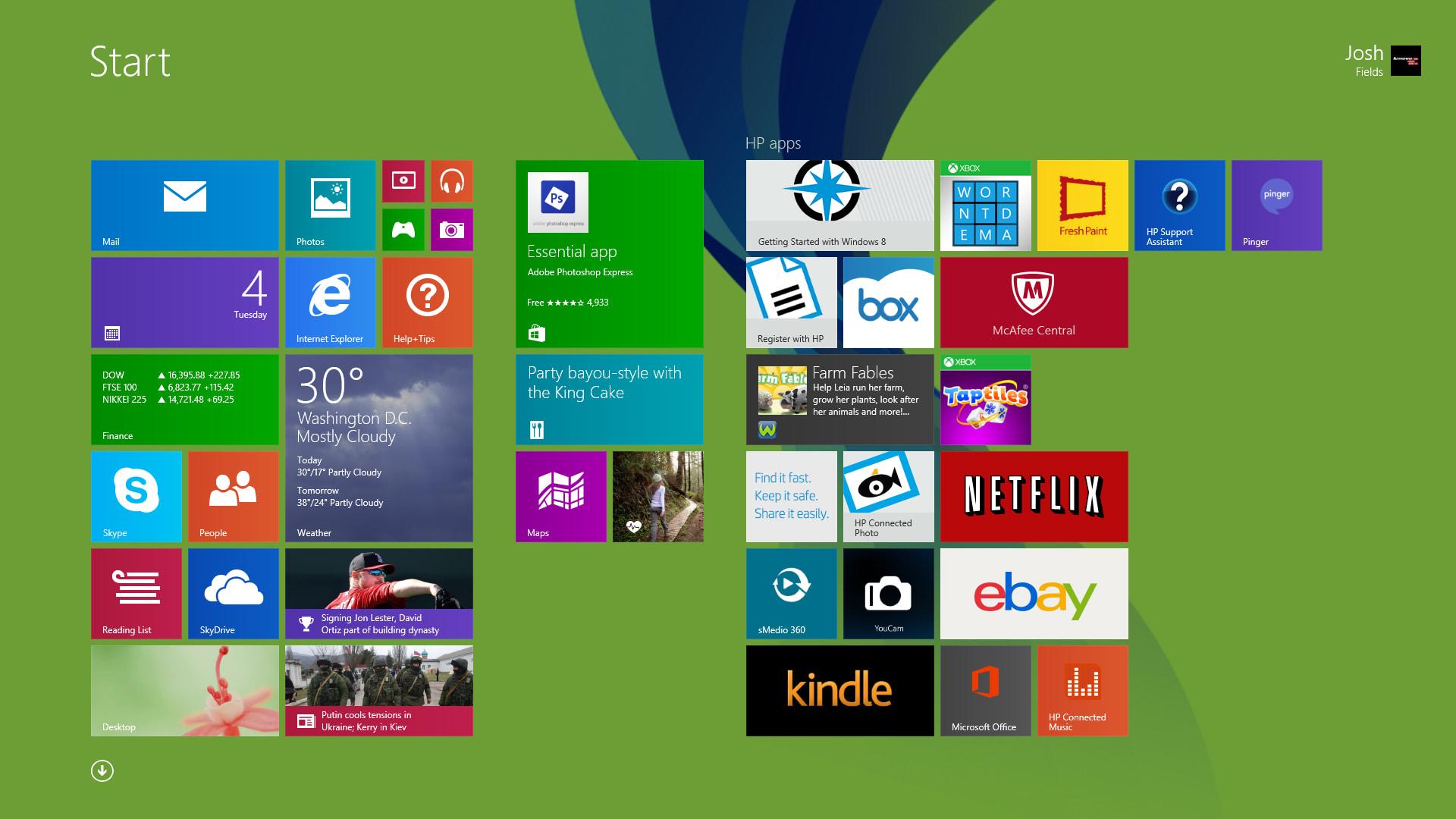 The HP Envy TouchSmart 17's Start screen
