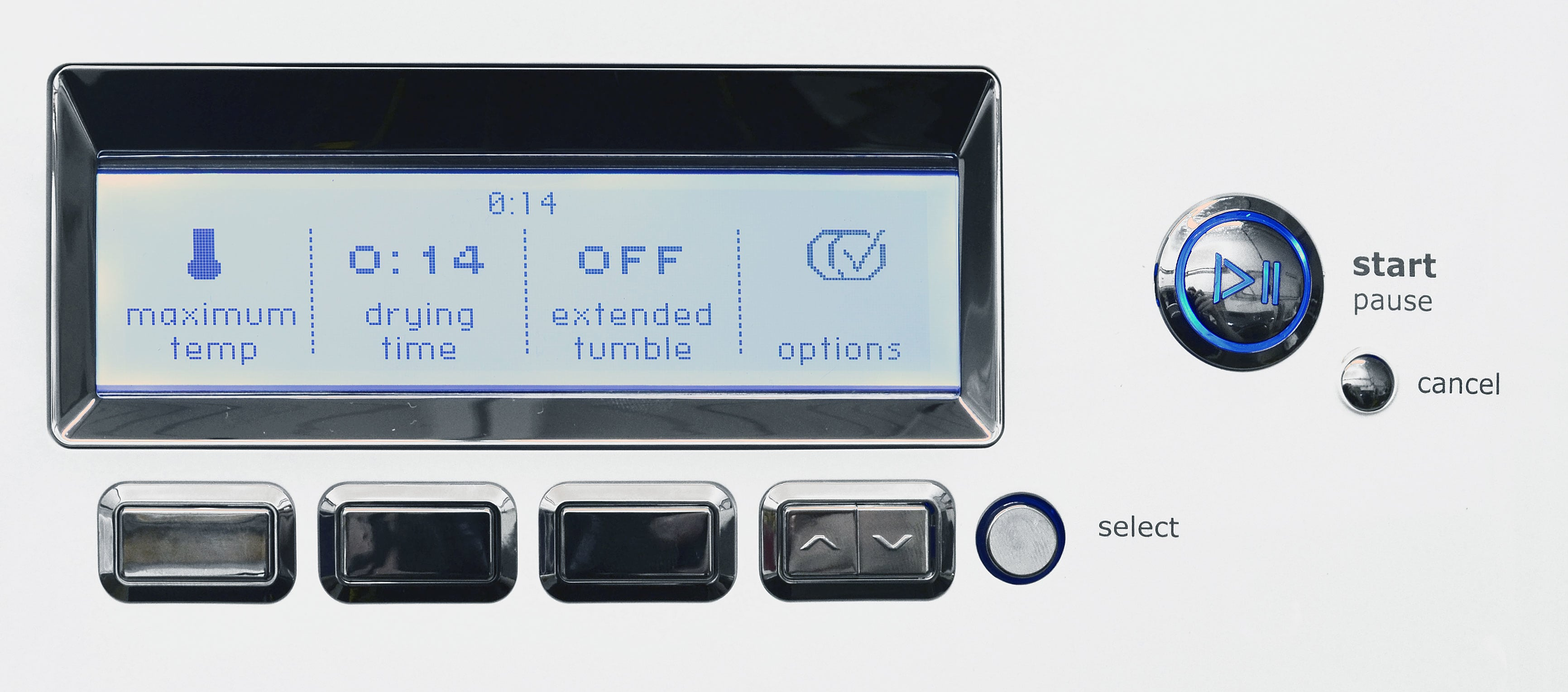 The Electrolux EWMGD70JIW's control panel certainly looks streamlined, but the four-button interface creates a rabbit hole of features that you'll probably need the manual to navigate.