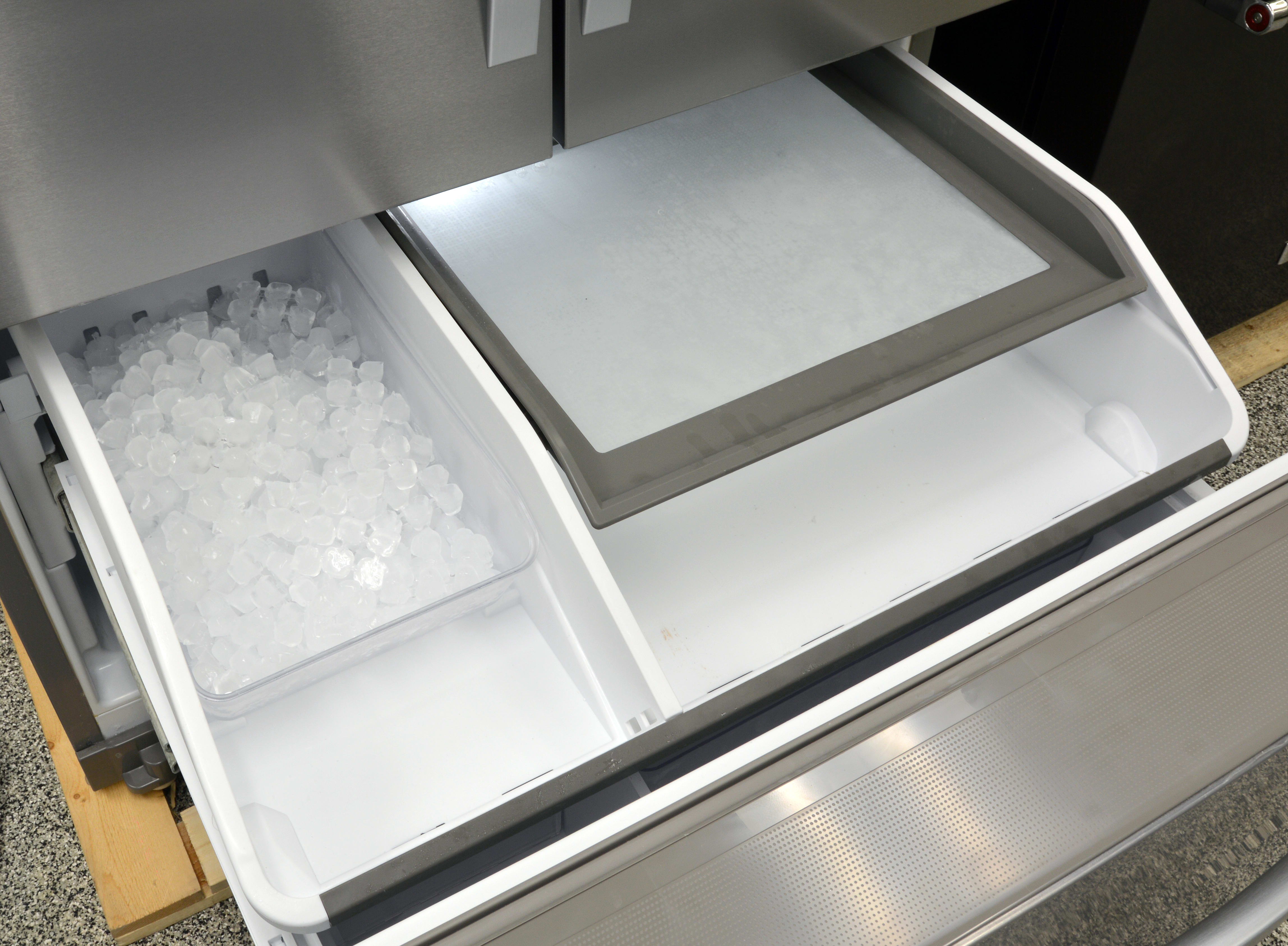 On the upper freezer drawer, you get the cube bucket for the second ice maker, plus a two-tiered storage area that offers less space than a usual freezer drawer but helps keep things organized.