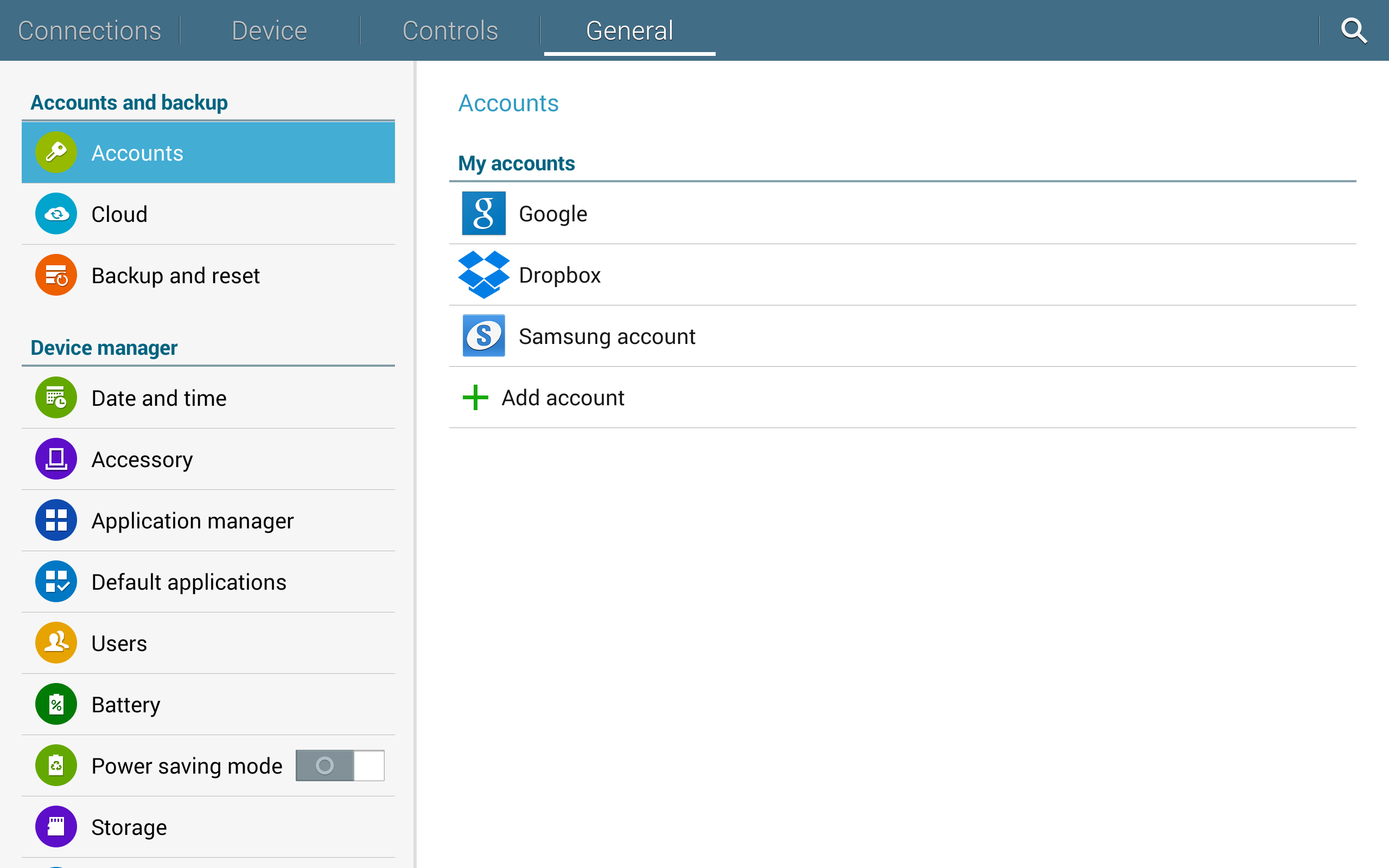 A screenshot of the Samsung Galaxy Note Pro's settings.