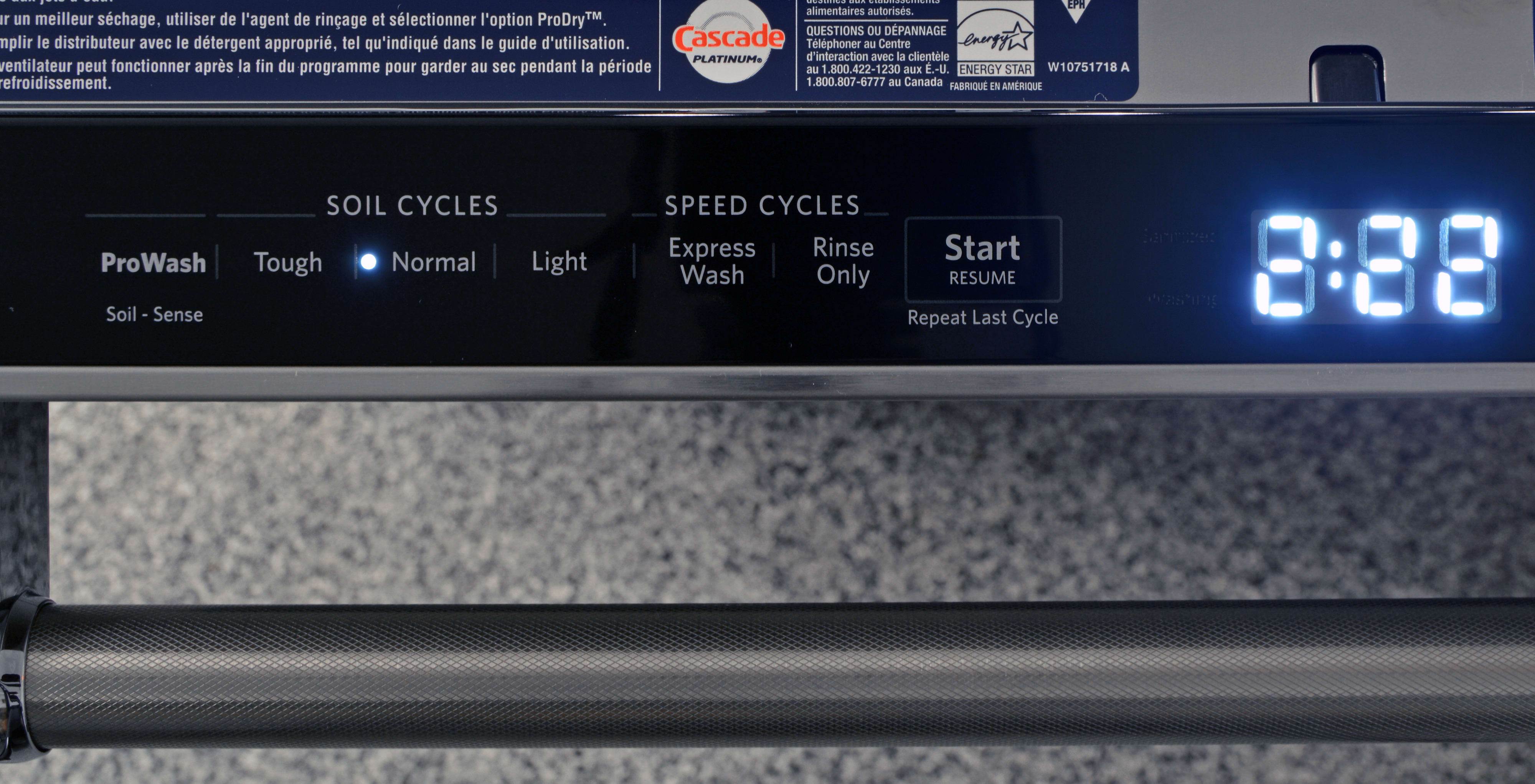 Cycle selection portion of the control panel