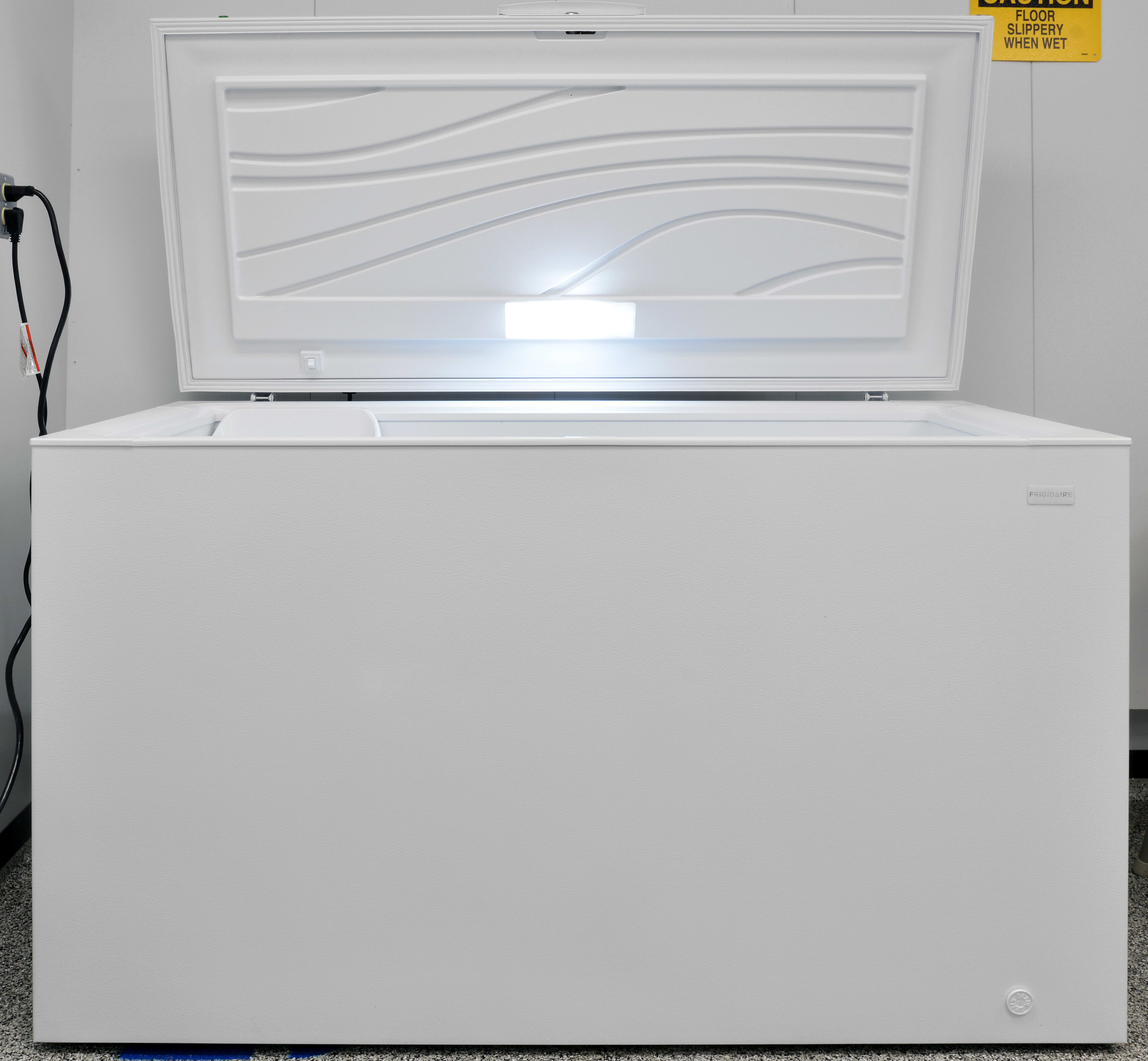 An interior light—no matter how small—is always a welcome addition to a chest freezer like the Frigidaire FFFC16M5QW.