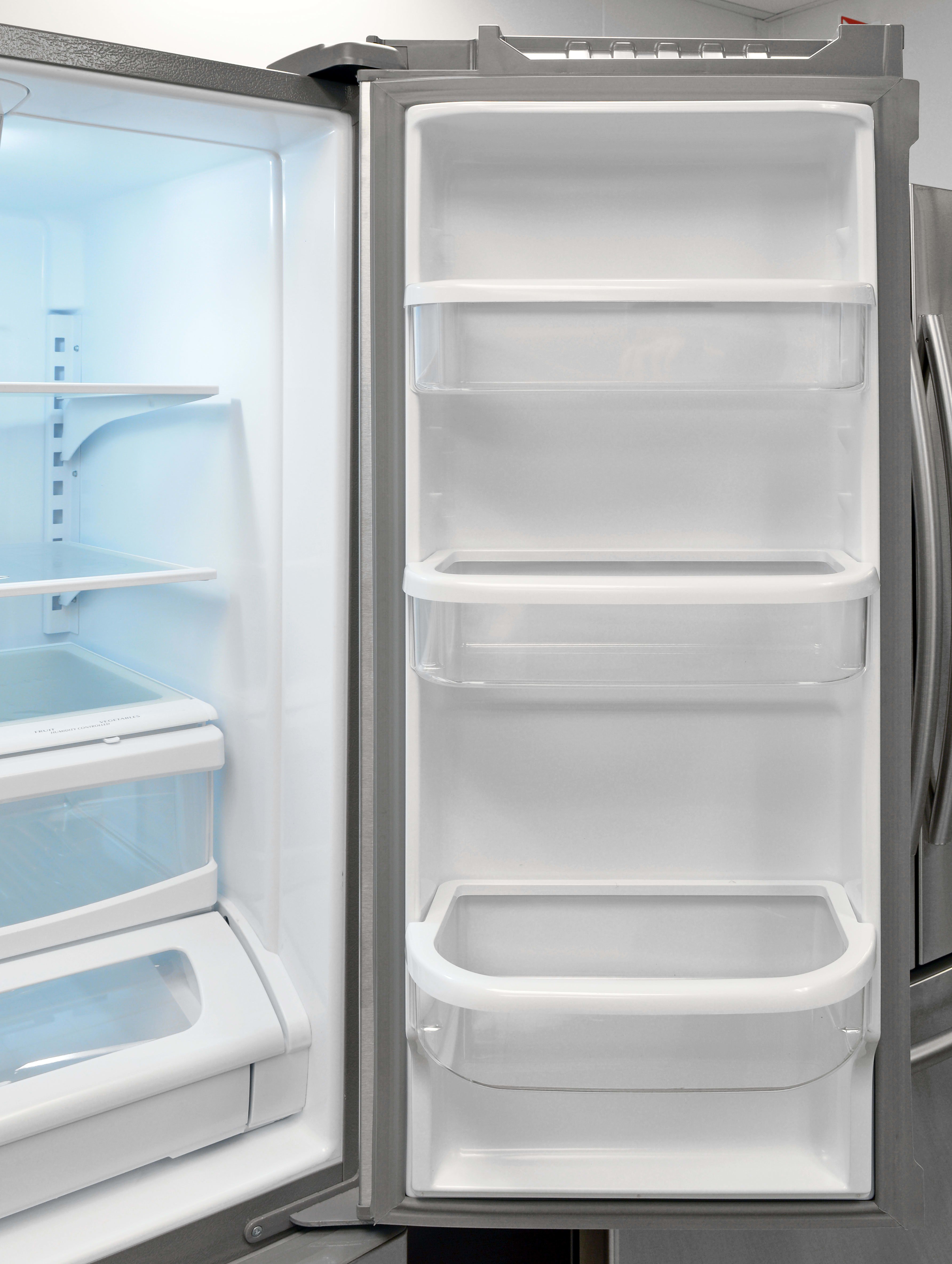 The Whirlpool WRF535SMBM's right fridge door mirrors the left, offering up even more gallon-sized storage.