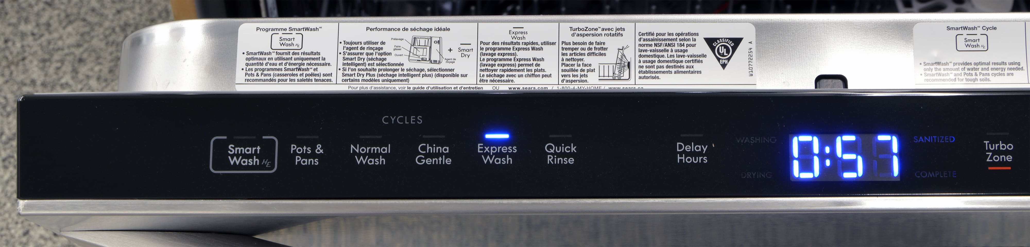 The left side of the control panel, which has cycle selection