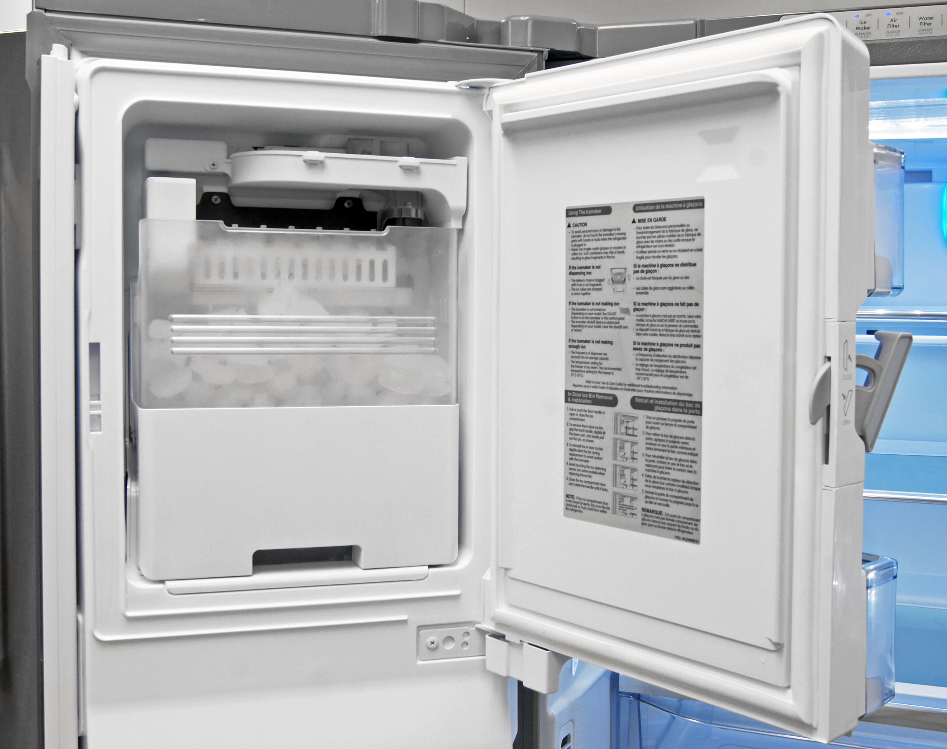The Kenmore Elite 74033's door-mounted icemaker hold plenty of cubes while taking up as little space as possible.