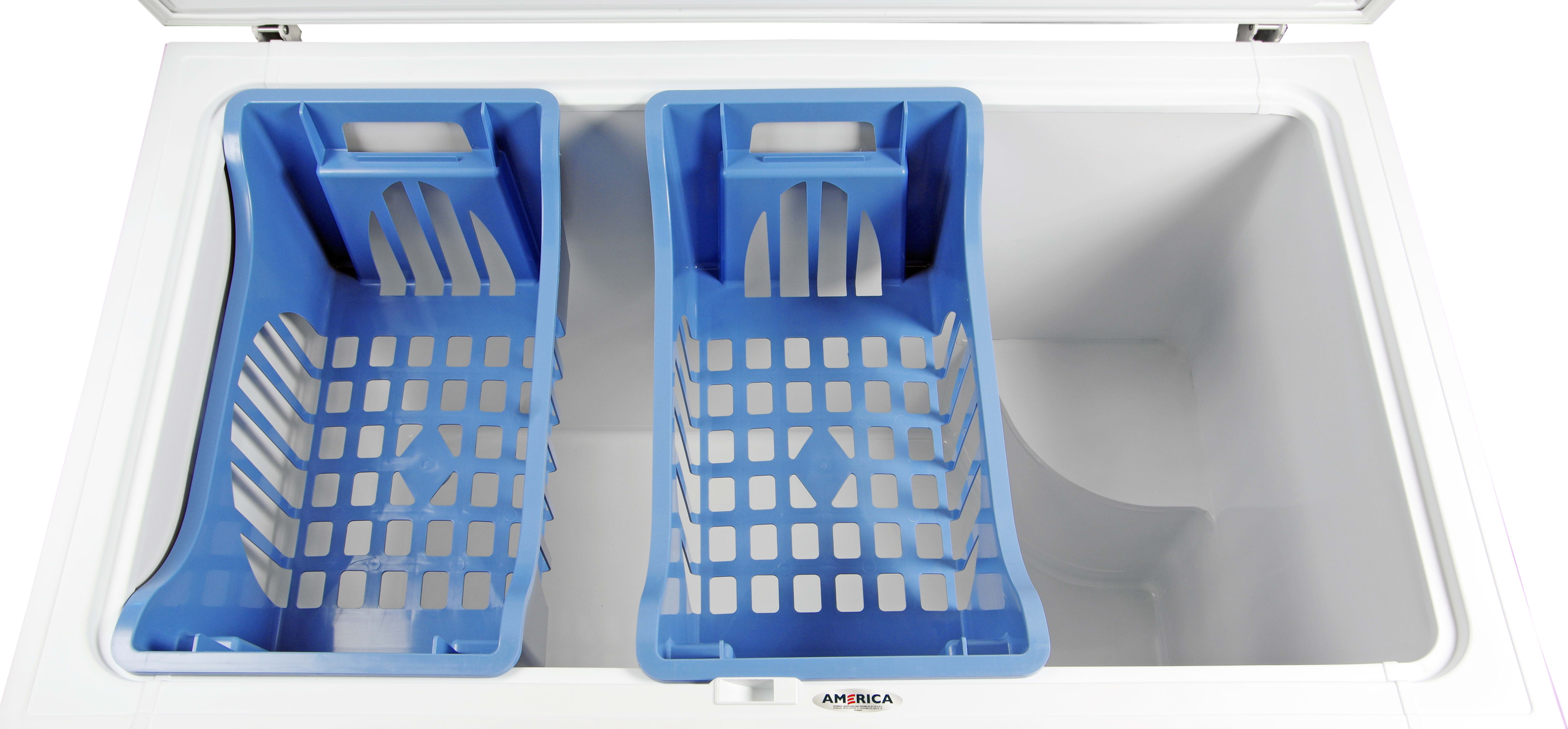 The two blue bins up top are all the organizational help you're going to get from the Whirlpool EH151FXTQ.