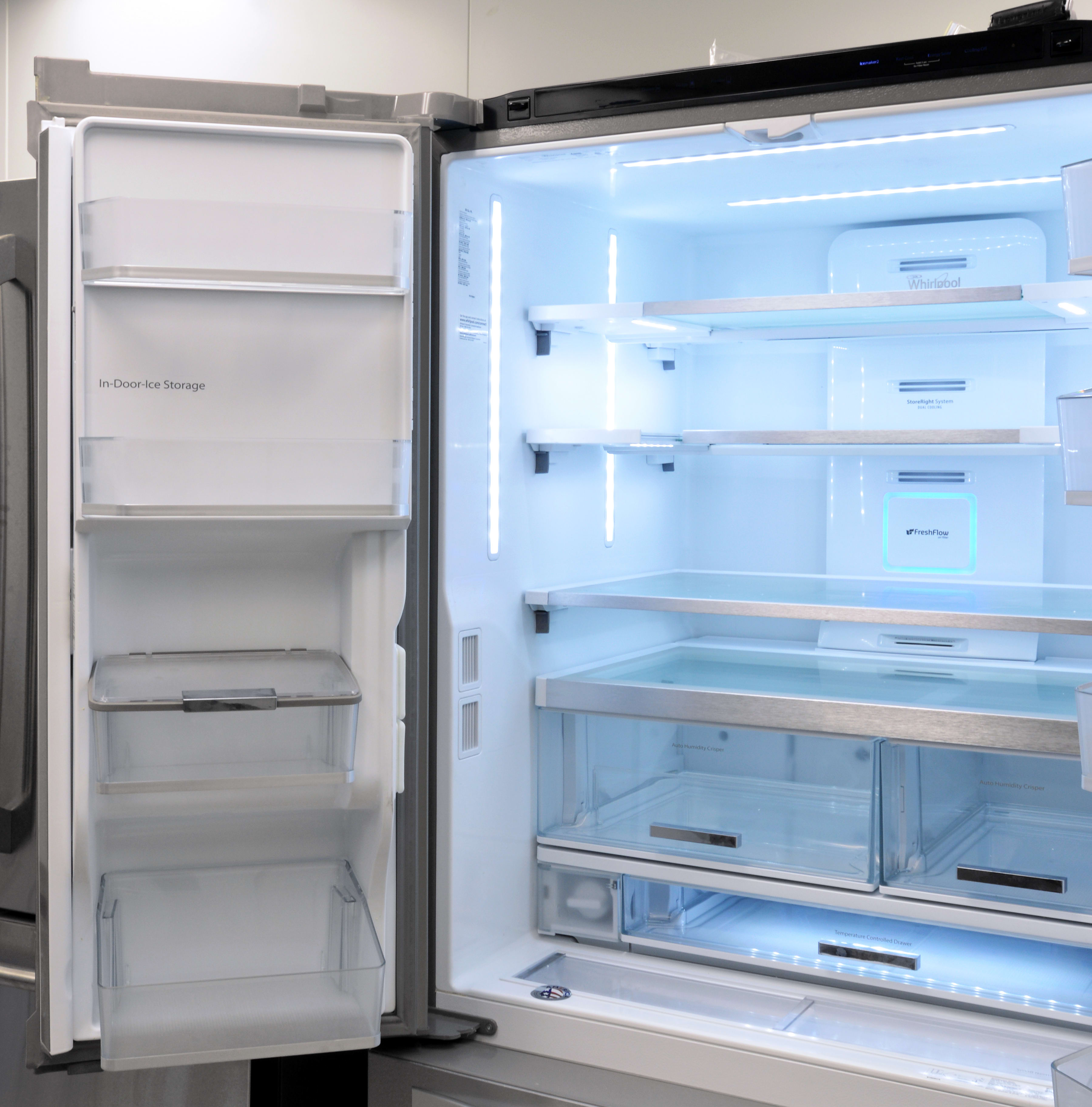 Whirlpool wrf995fifz refrigerator review reviewed refrigerators the slim ice maker is found on the left door which features additional shelves rubansaba