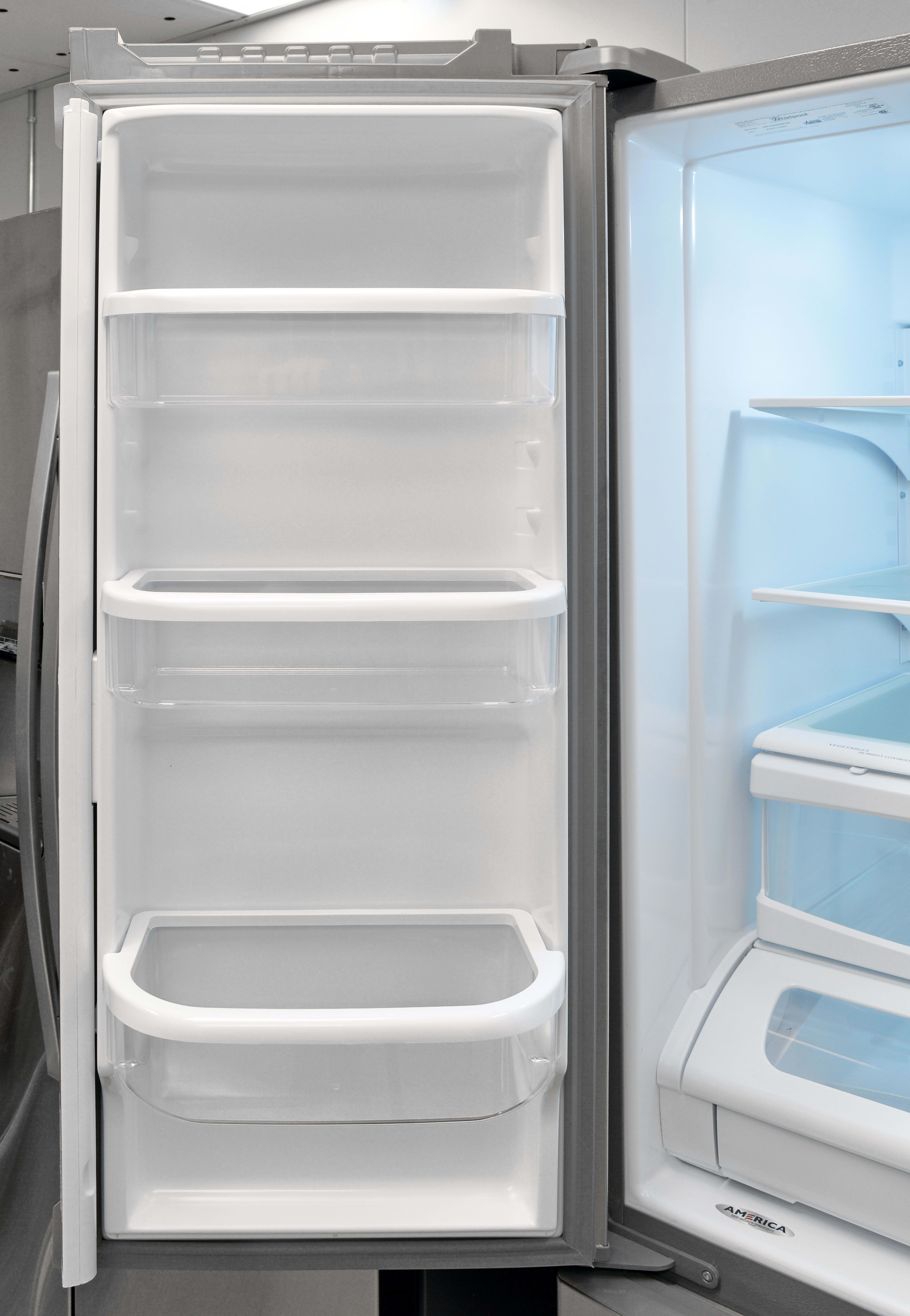 With no ice dispenser, the Whirlpool WRF535SMBM's left fridge door is left available for practical storage.