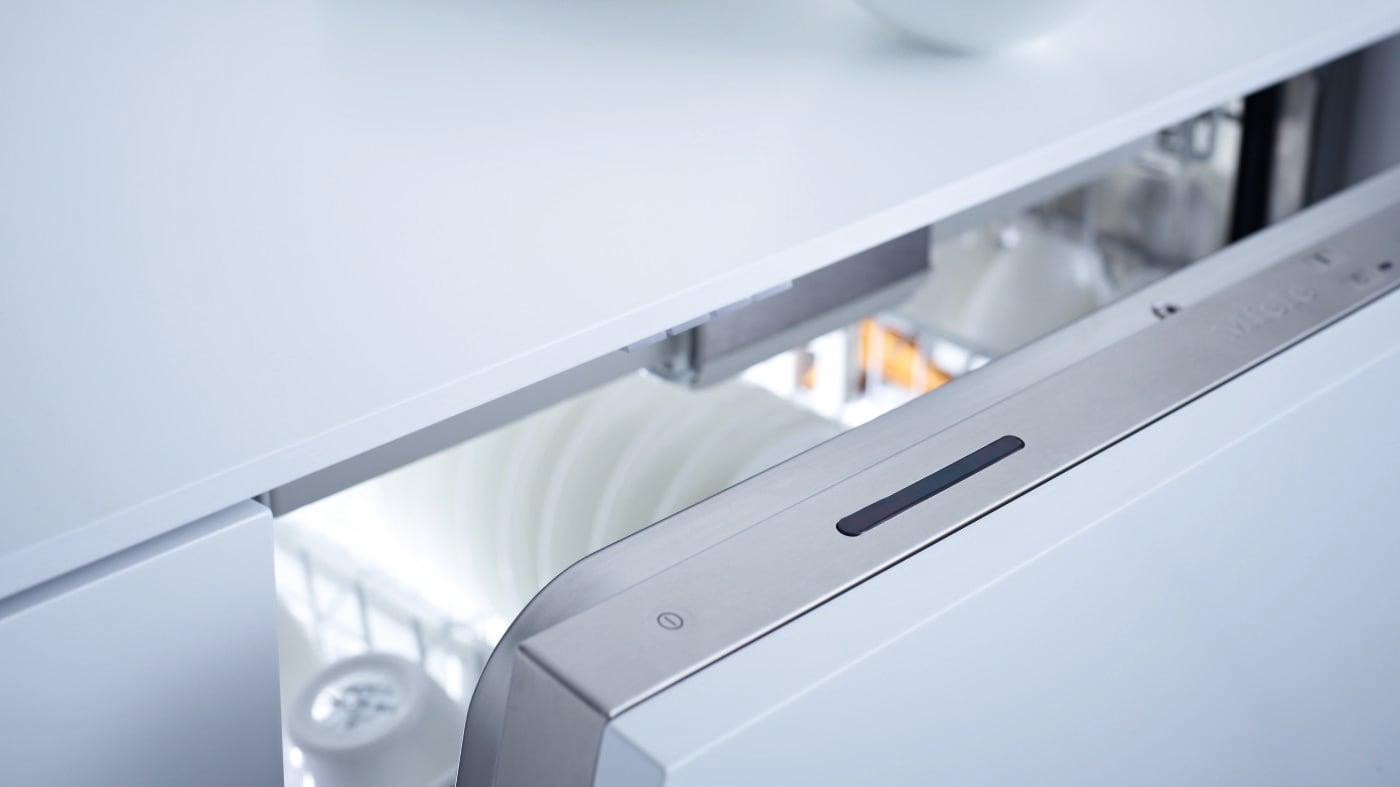 External view of the dishwasher door, slightly open