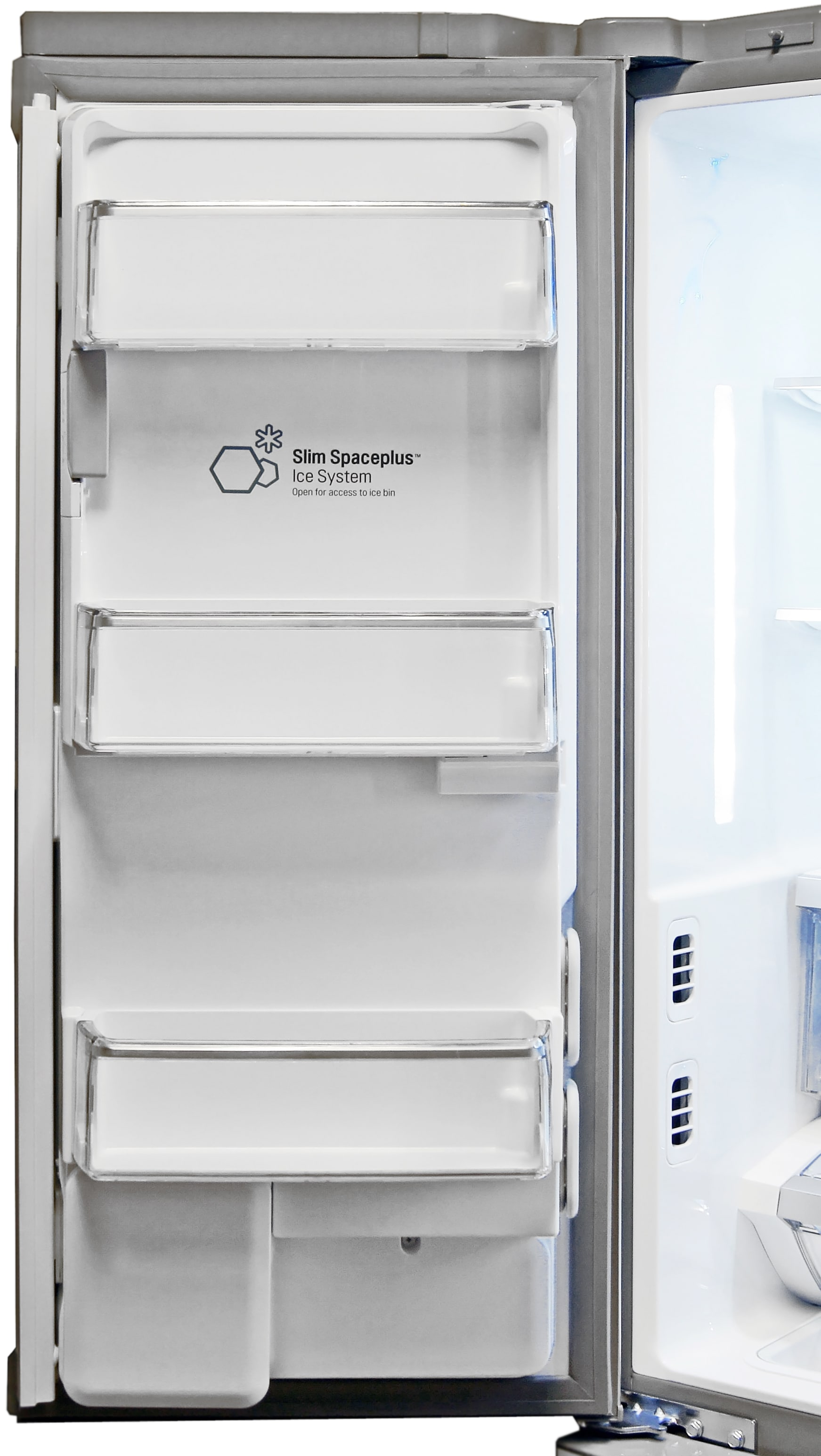 Even with the LG LFX32945ST's door-mounted icemaker, you still get three (rather shallow) shelves.