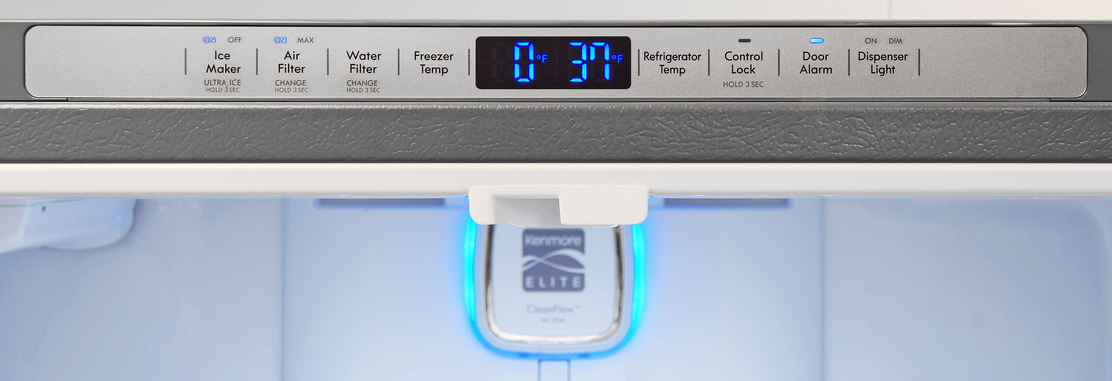 Most of the Kenmore Elite 74025's controls are actually found inside the fridge along the upper frame.