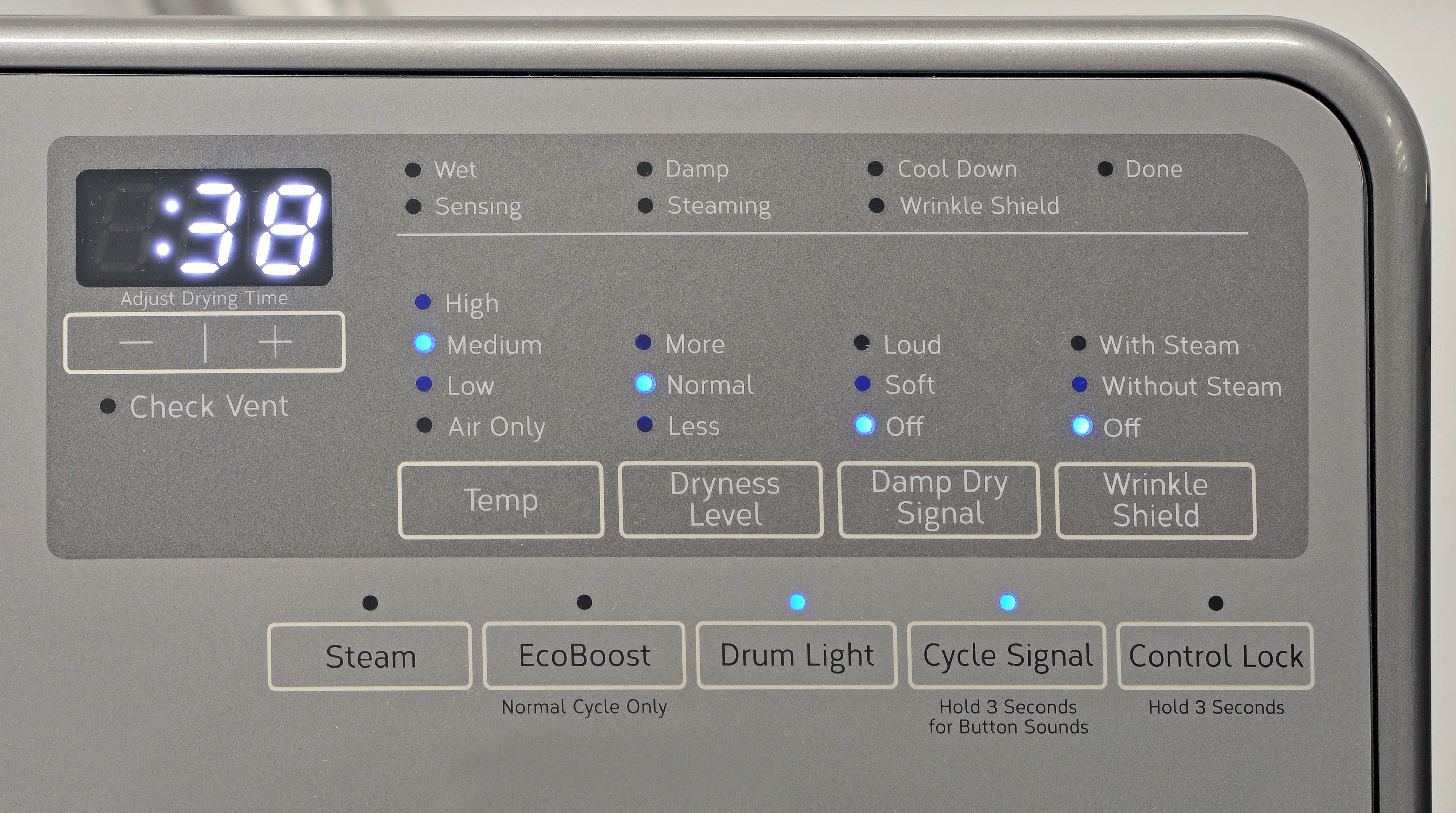 The Whirlpool 90HE series dryer's feature list and customization options are definitely slimmer than on many other comparable dryers, but you still get some useful options to choose from.