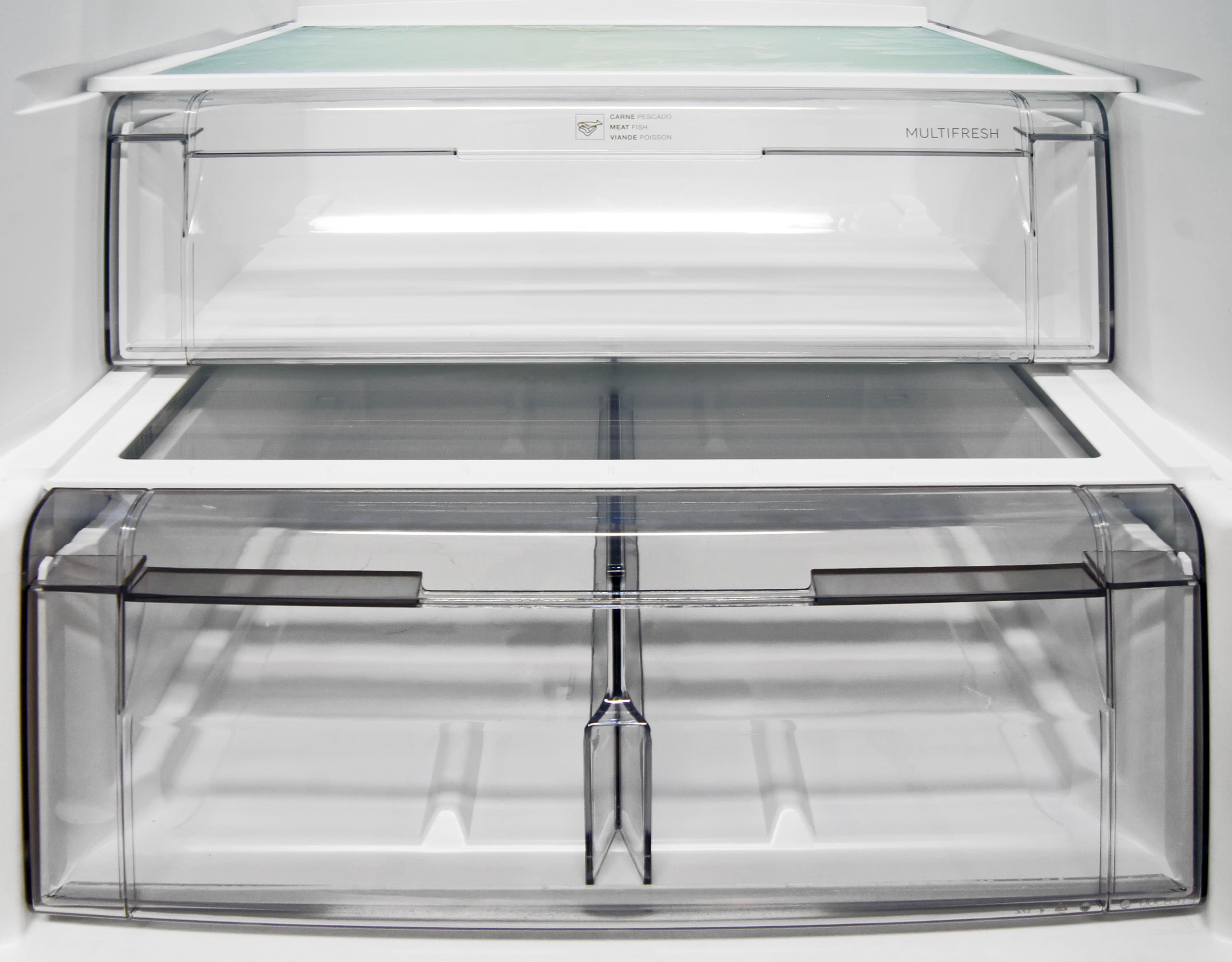 You can't adjust the humidity retention of the Fagor FFJA4845X's crisper, but you can alter the placement of the plastic divider, shown here in the middle. The drawer on top is meant for storing or defrosting meat and fish.
