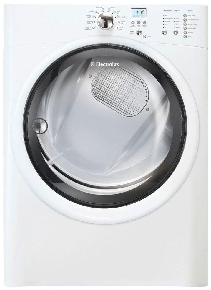 The 8-cu.-ft. Electrolux EIGD50LIW combines conventional looks with superfluous drying prowess.