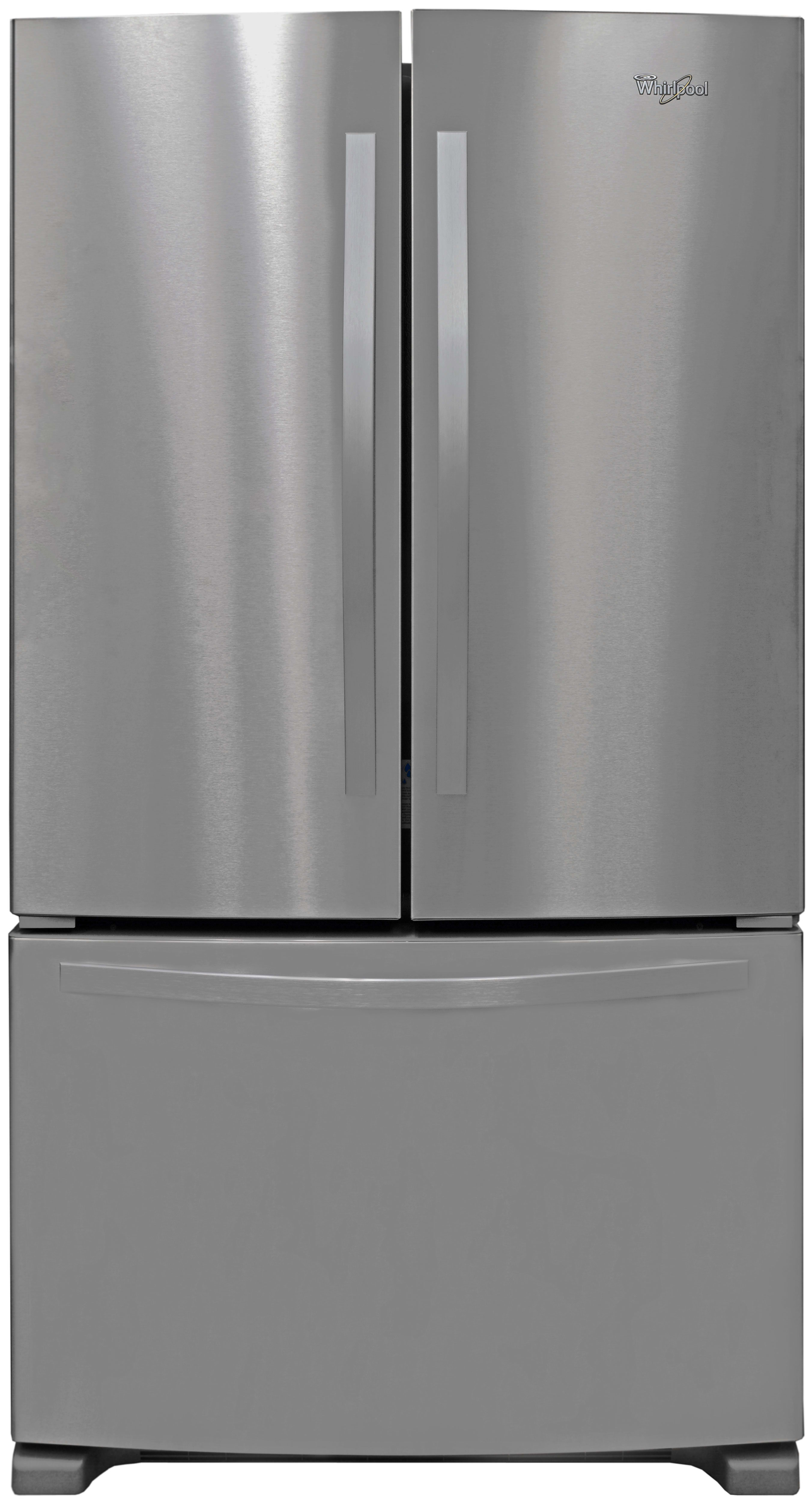 With no dispenser to break it up, the Whirlpool WRF535SMBM's exterior finish is more or less a continuous expanse of stainless steel.