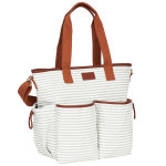 Hipcub tote diaper bag gray white main straps up