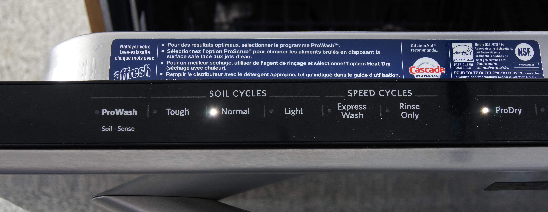 KitchenAid KDTM354DSS control panel cycles