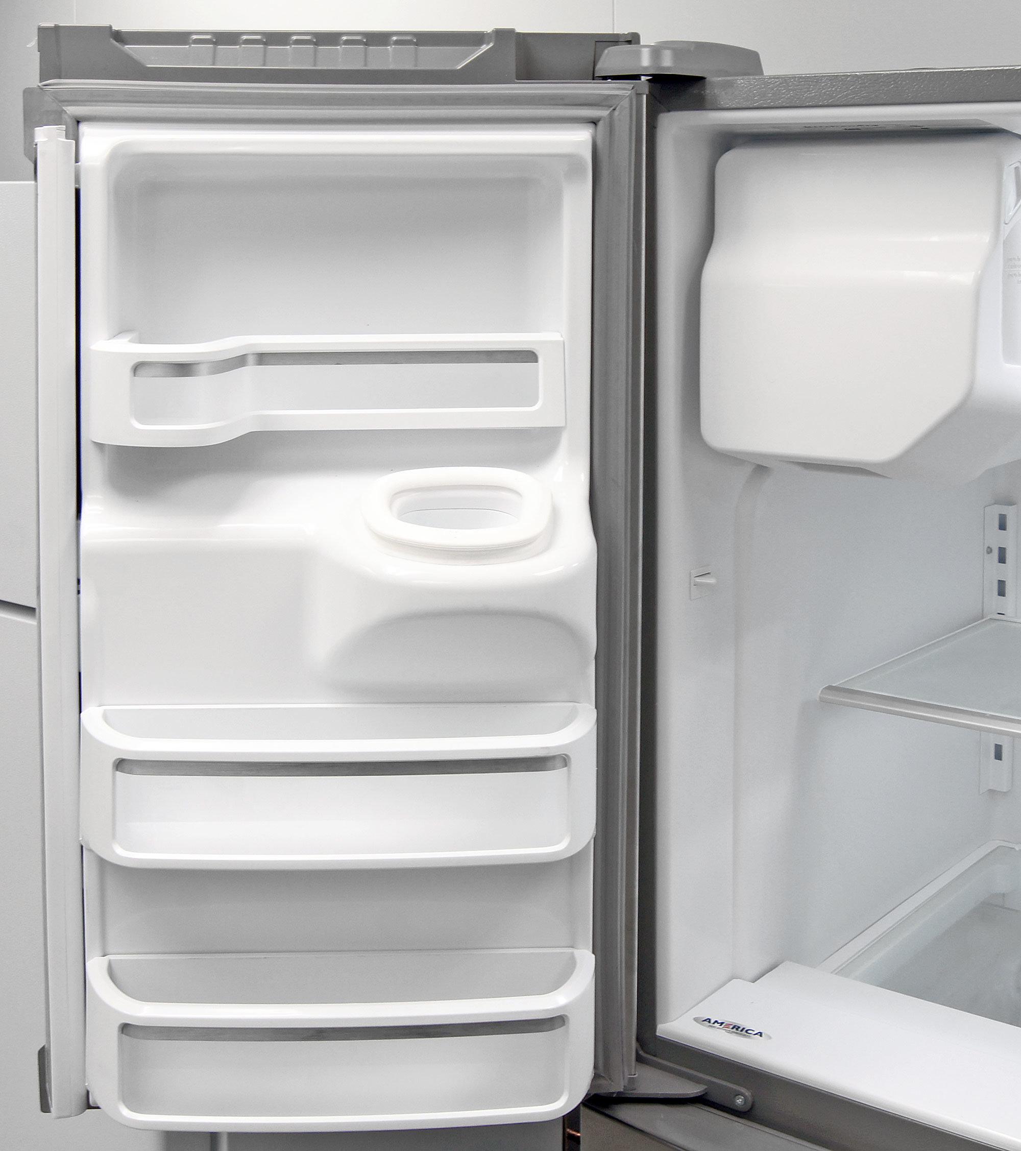 Storage on the left fridge door is distorted to accommodate the KitchenAid KFXS25RYMS's ice dispenser chute.