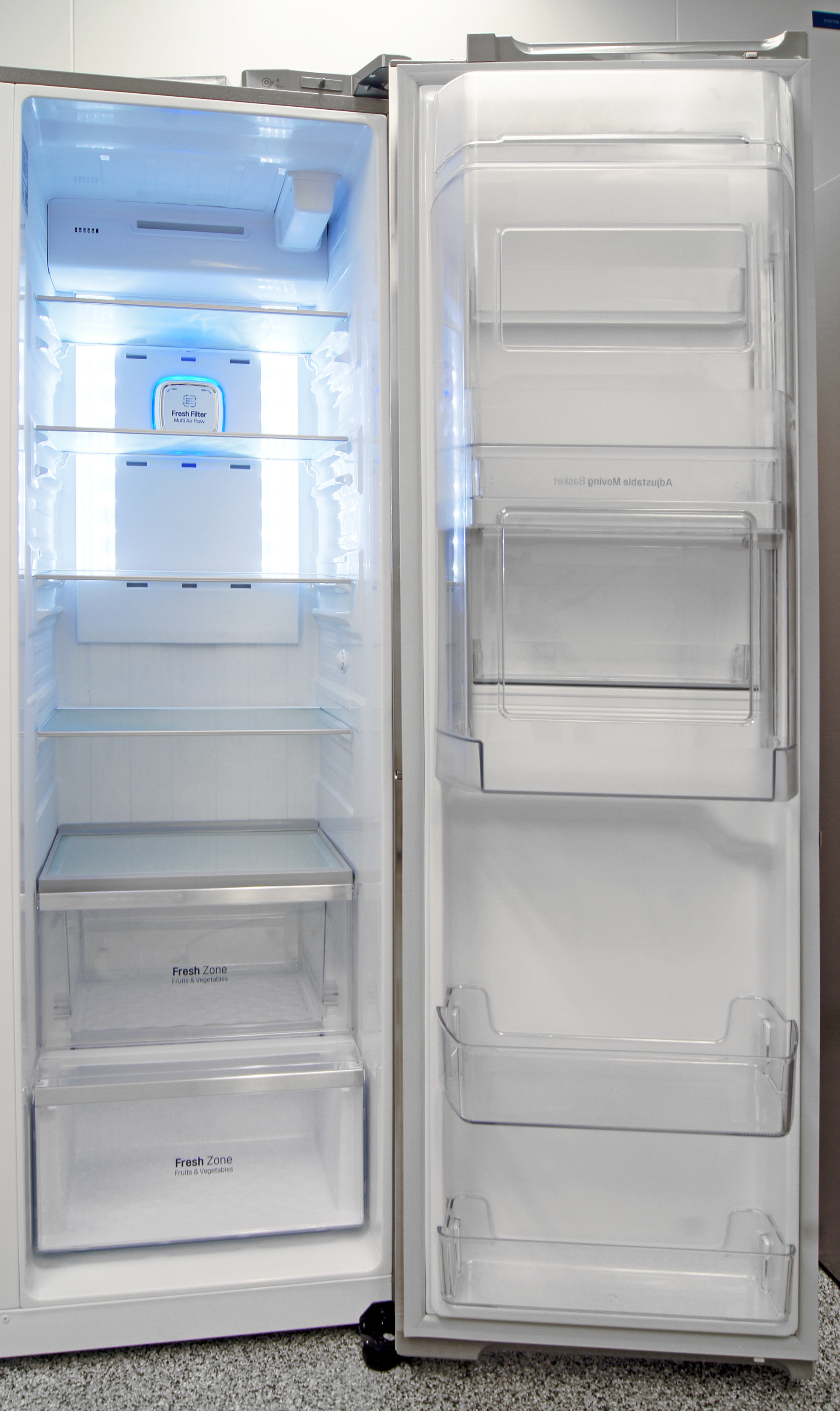 The plastic wall around the door-in-door compartment can be tough to navigate, but the rest of the LG LSC22991ST's fridge is very accessible.