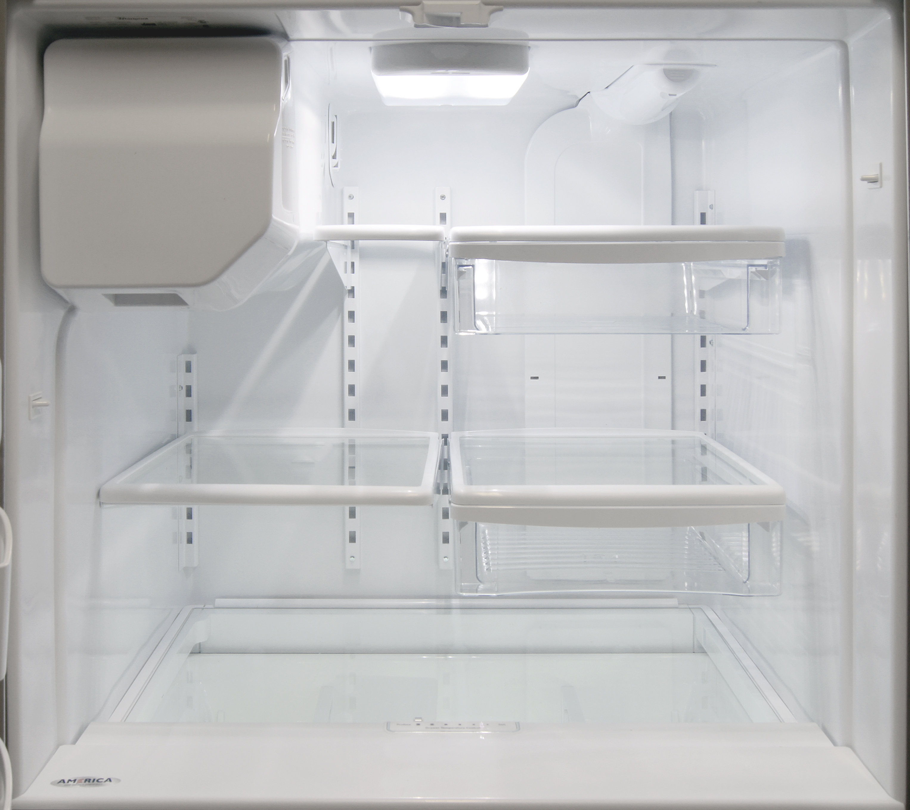 The Whirlpool WRX735SDBM fridge interior would feel a lot roomier if it weren't for that icemaker looming in the corner.