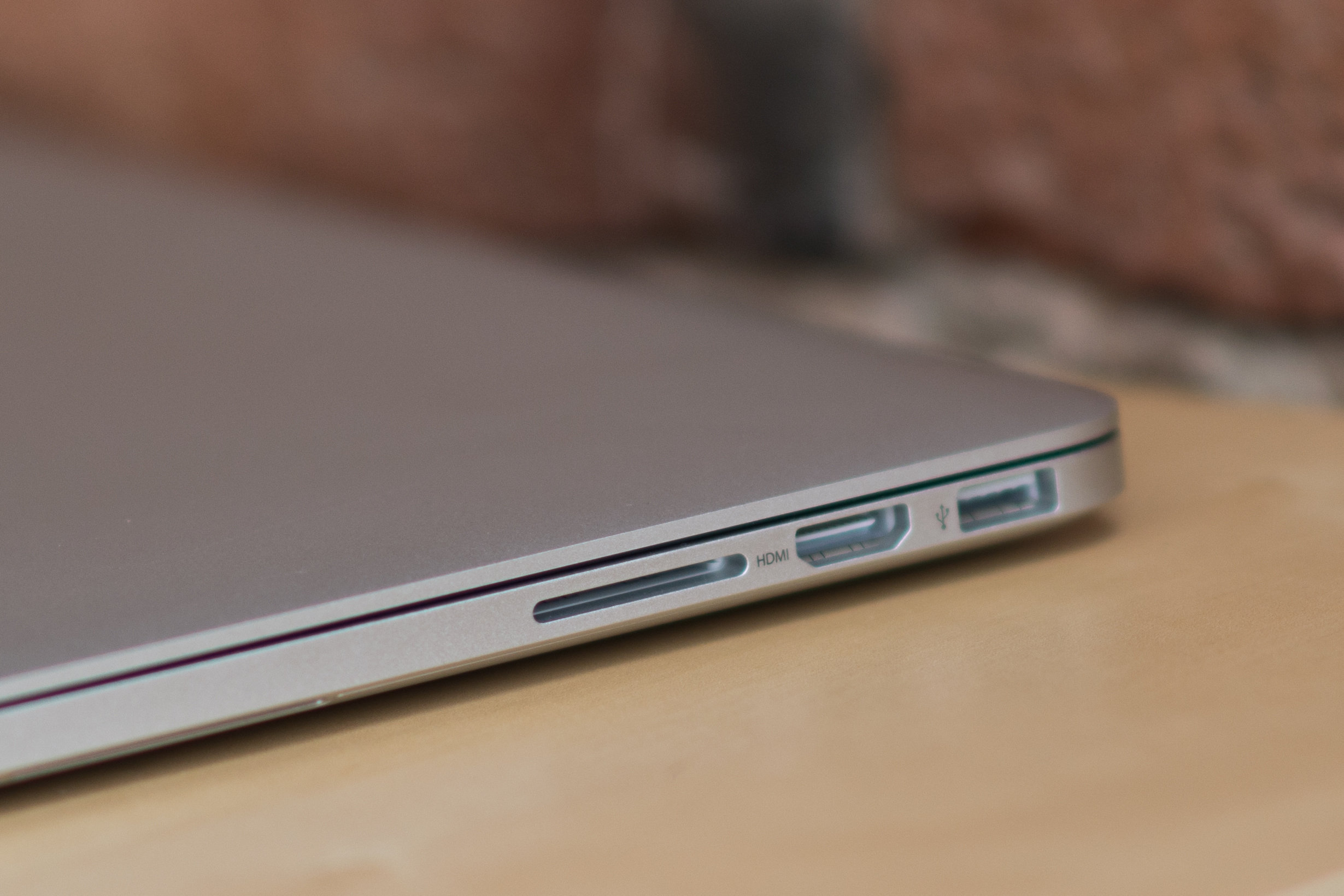 A closer look at the MacBook Pro with Retina Display's card slot.