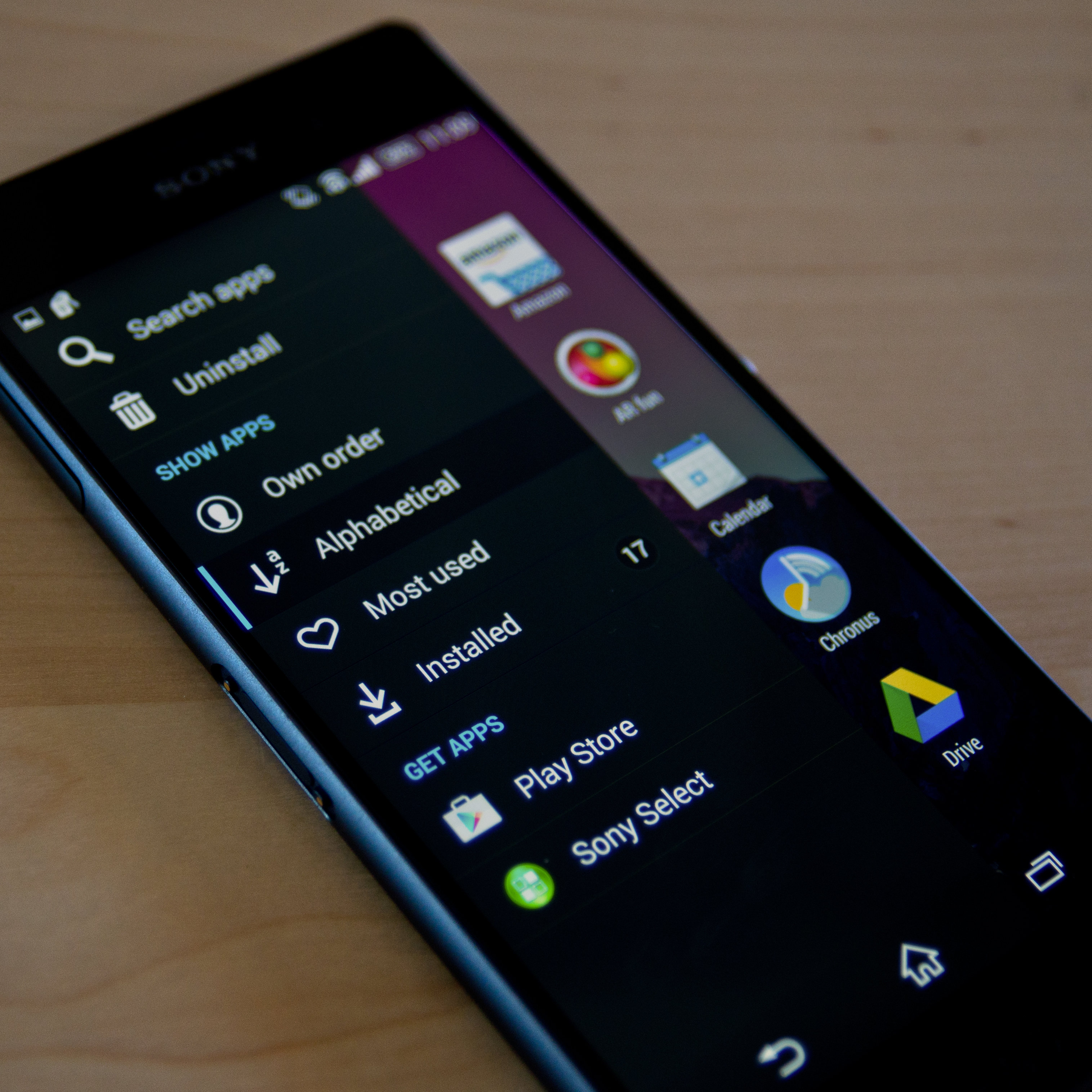 A photograph of the Sony Xperia Z3's app drawer menu.