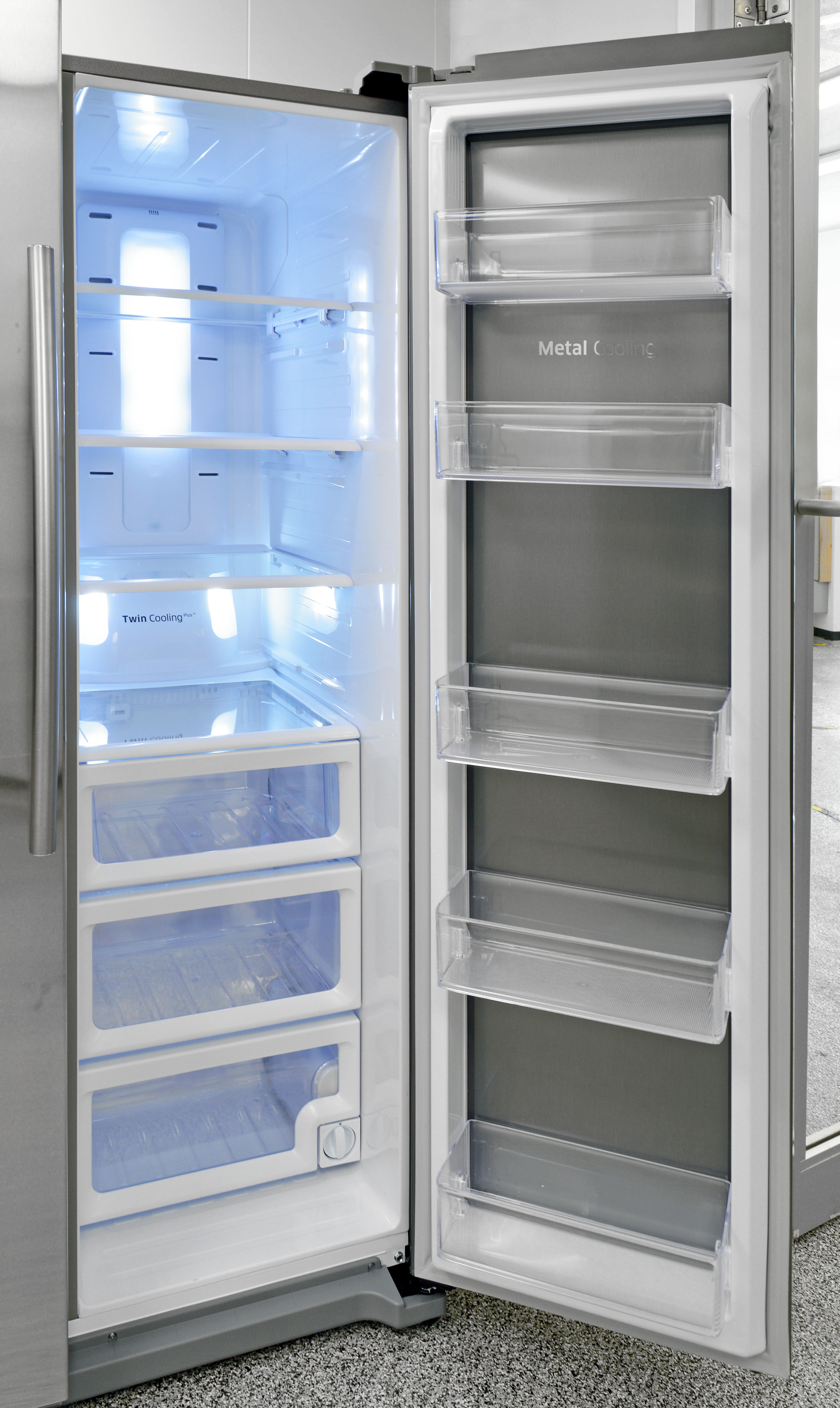 The Samsung RH25H5611SR has lots of shelves, but not as much customizable flexibility as you might expect for a fridge this pricey.