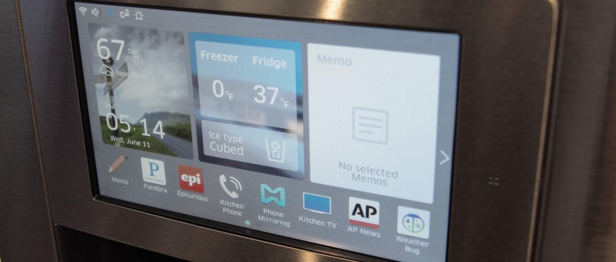hands   samsungs  smart refrigerator reviewedcom refrigerators