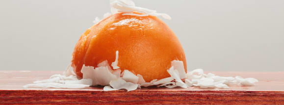 Roasted carrot with coconut milk shards photo andrew chan
