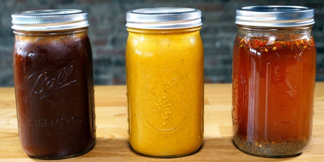 Three barbecue sauces