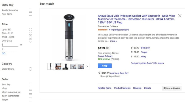 Google Comparison Shopping Tool